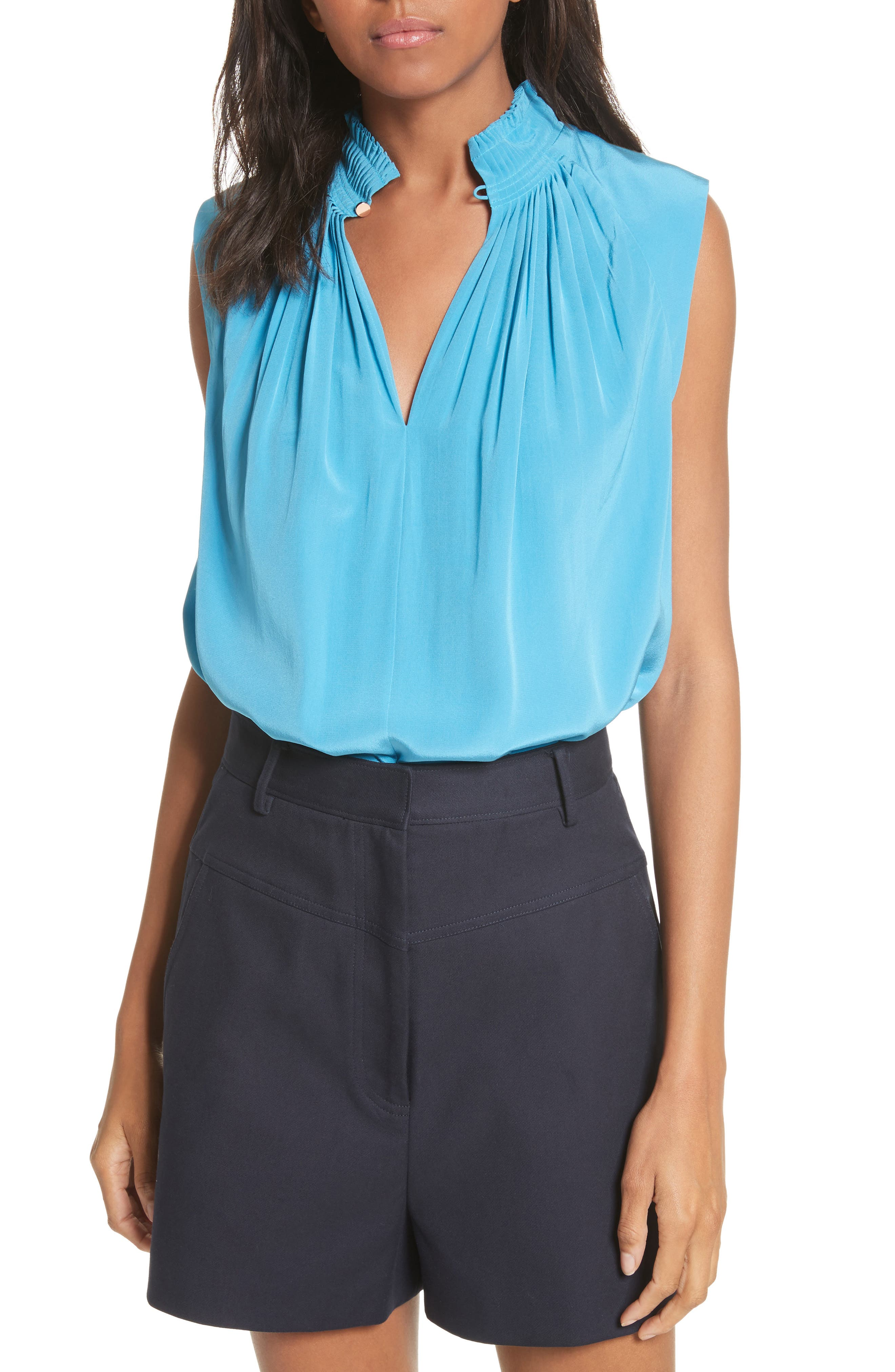 Arielle Sleeveless Silk Top,                             Main thumbnail 1, color,                             Bowery Blue