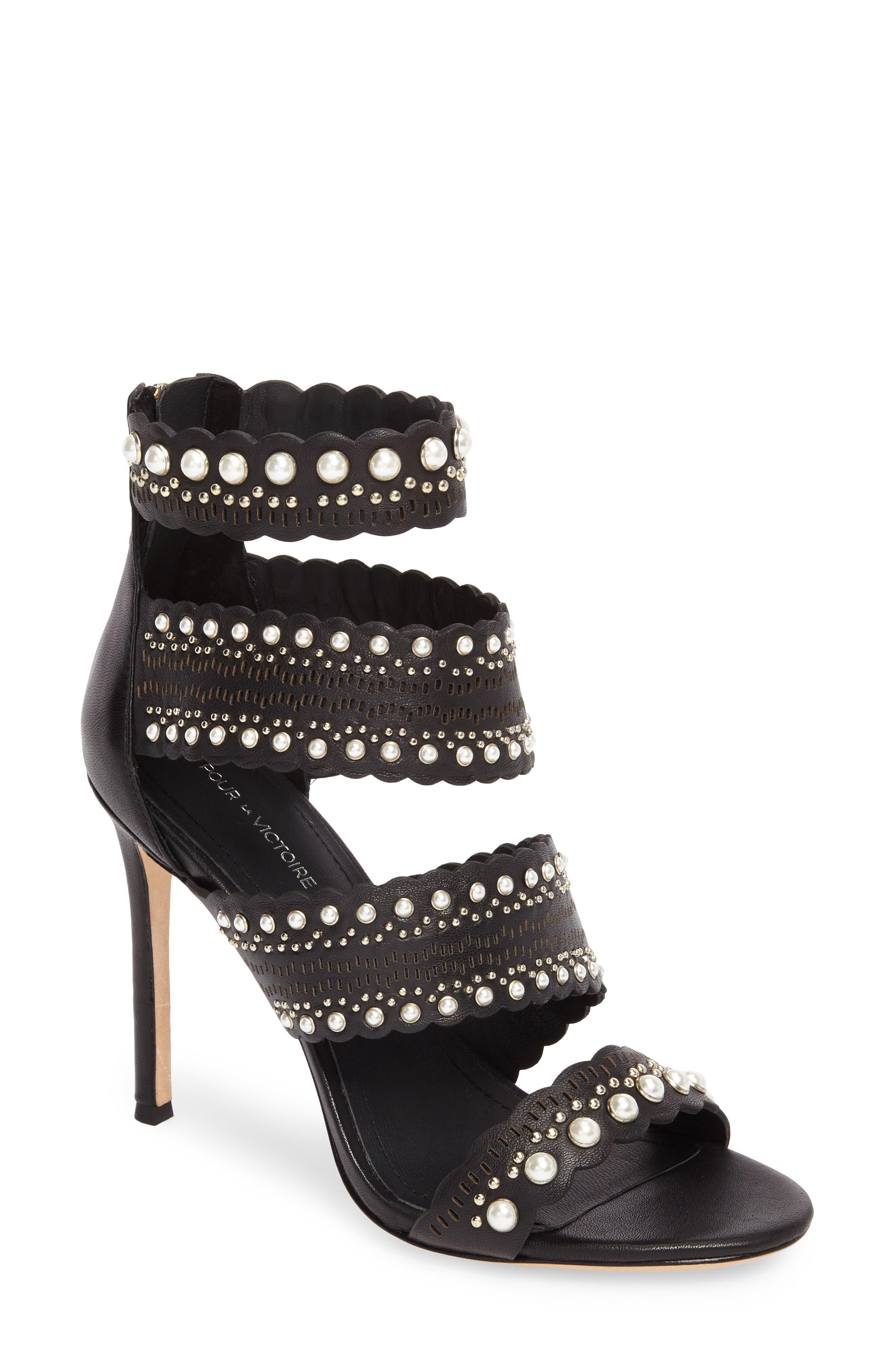 Ellura Scalloped Strap Sandal,                         Main,                         color, Black Leather