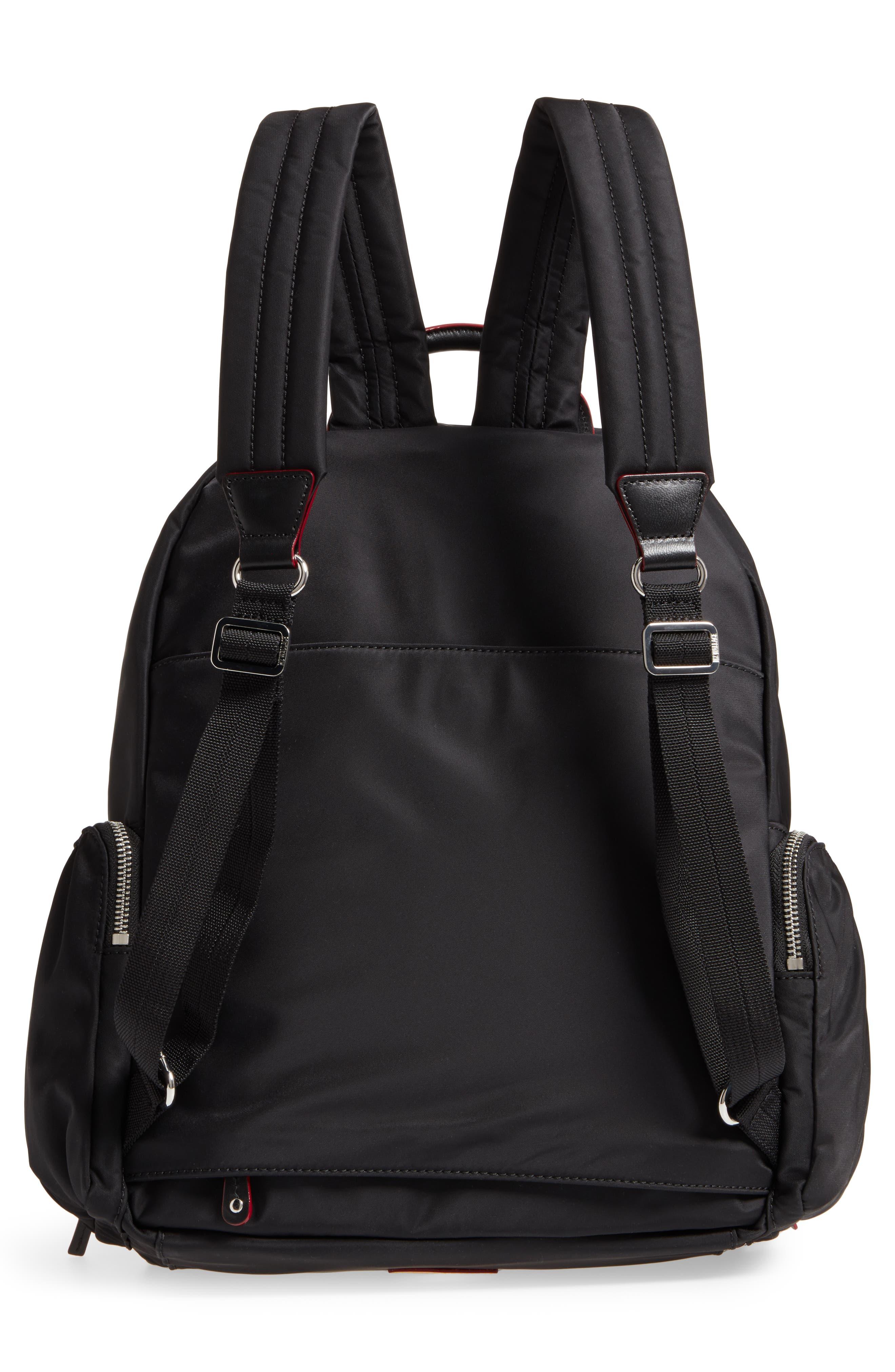 Madelyn Bedford Nylon Backpack,                             Alternate thumbnail 3, color,                             Black