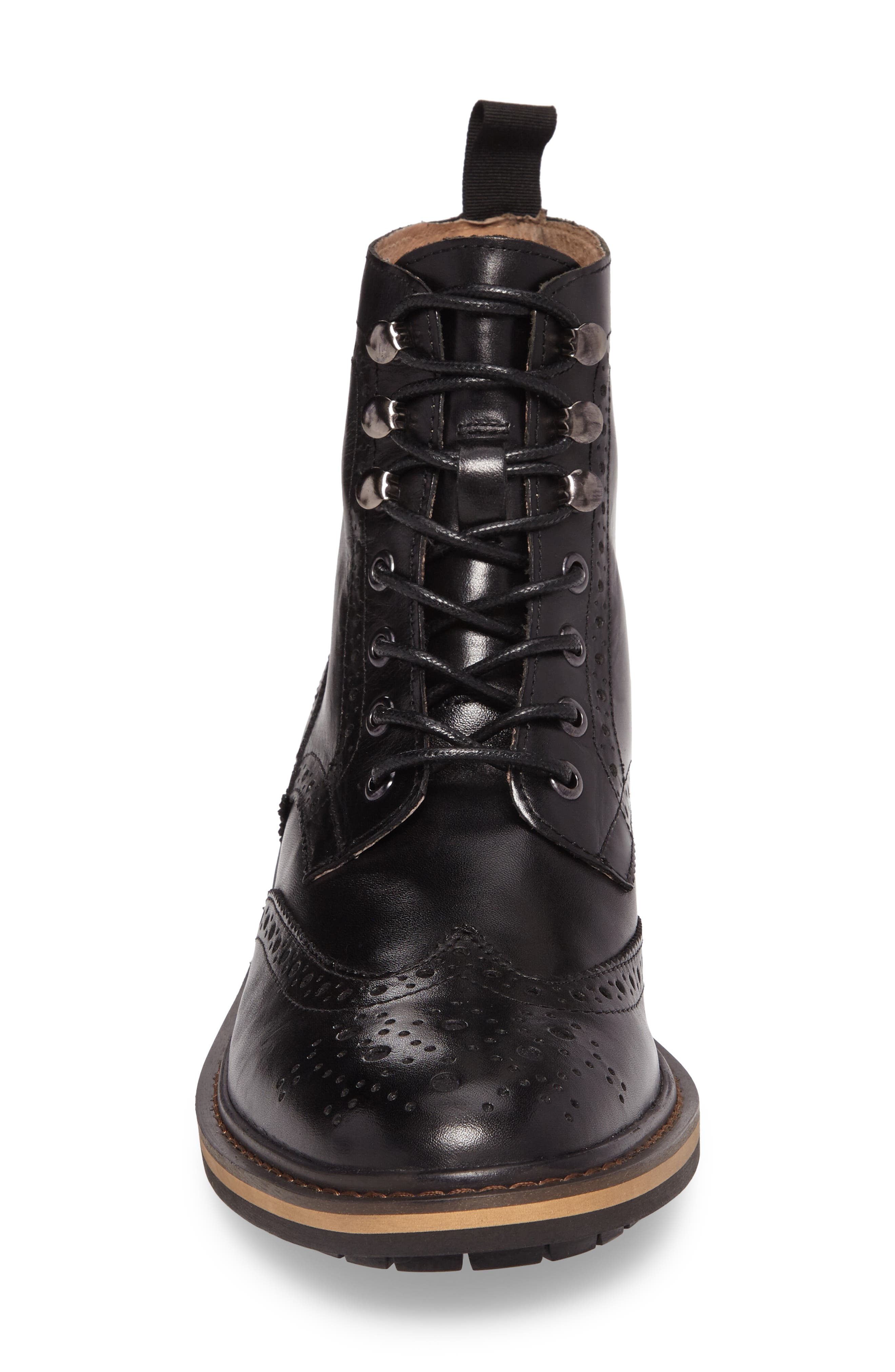 Grange Wingtip Boot,                             Alternate thumbnail 4, color,                             Black Smooth Leather