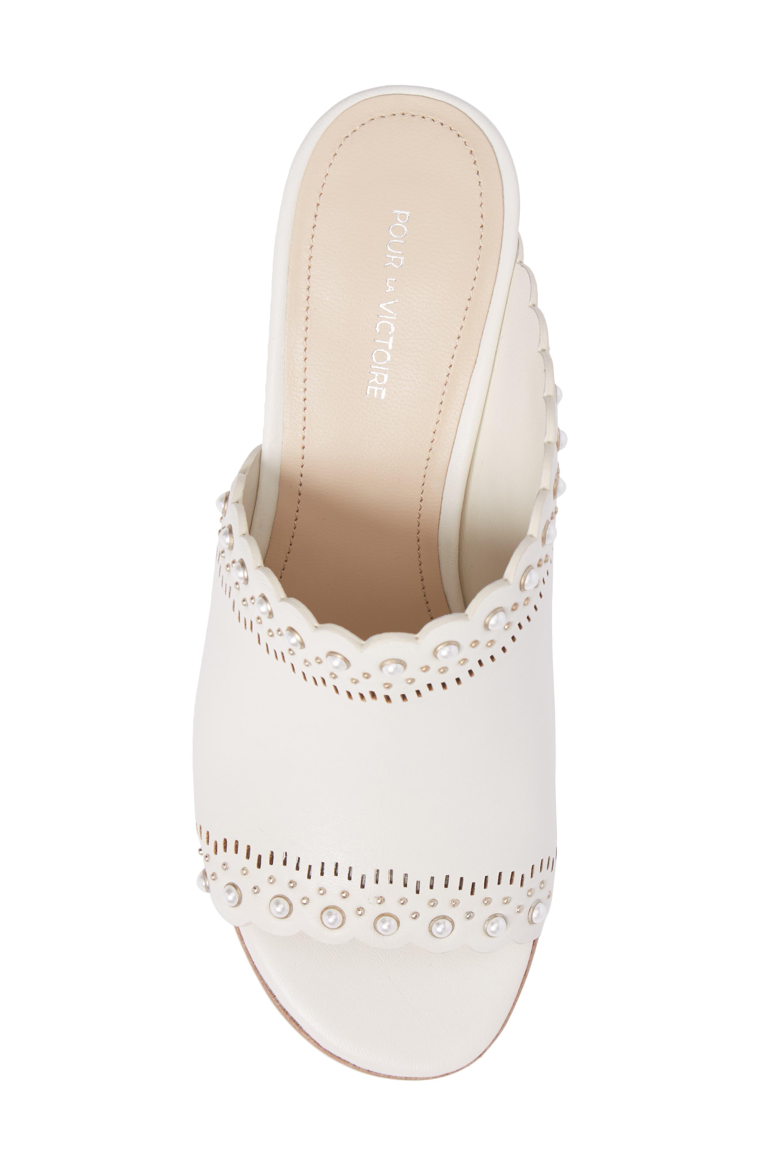 Amela Embellished Slide Sandal,                             Alternate thumbnail 5, color,                             Bone Leather