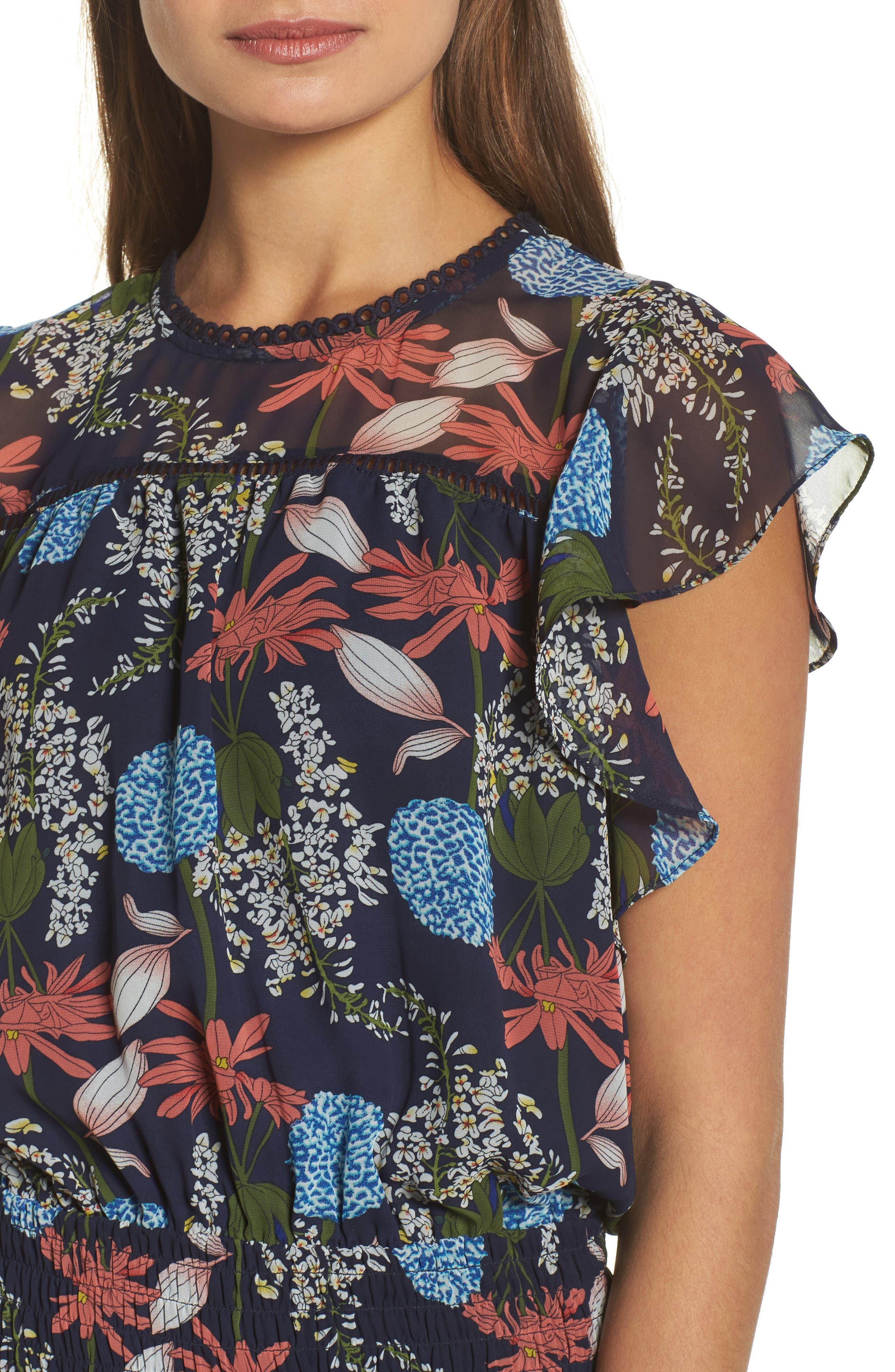 Tiered Blouson Dress,                             Alternate thumbnail 4, color,                             Navy Stella Floral