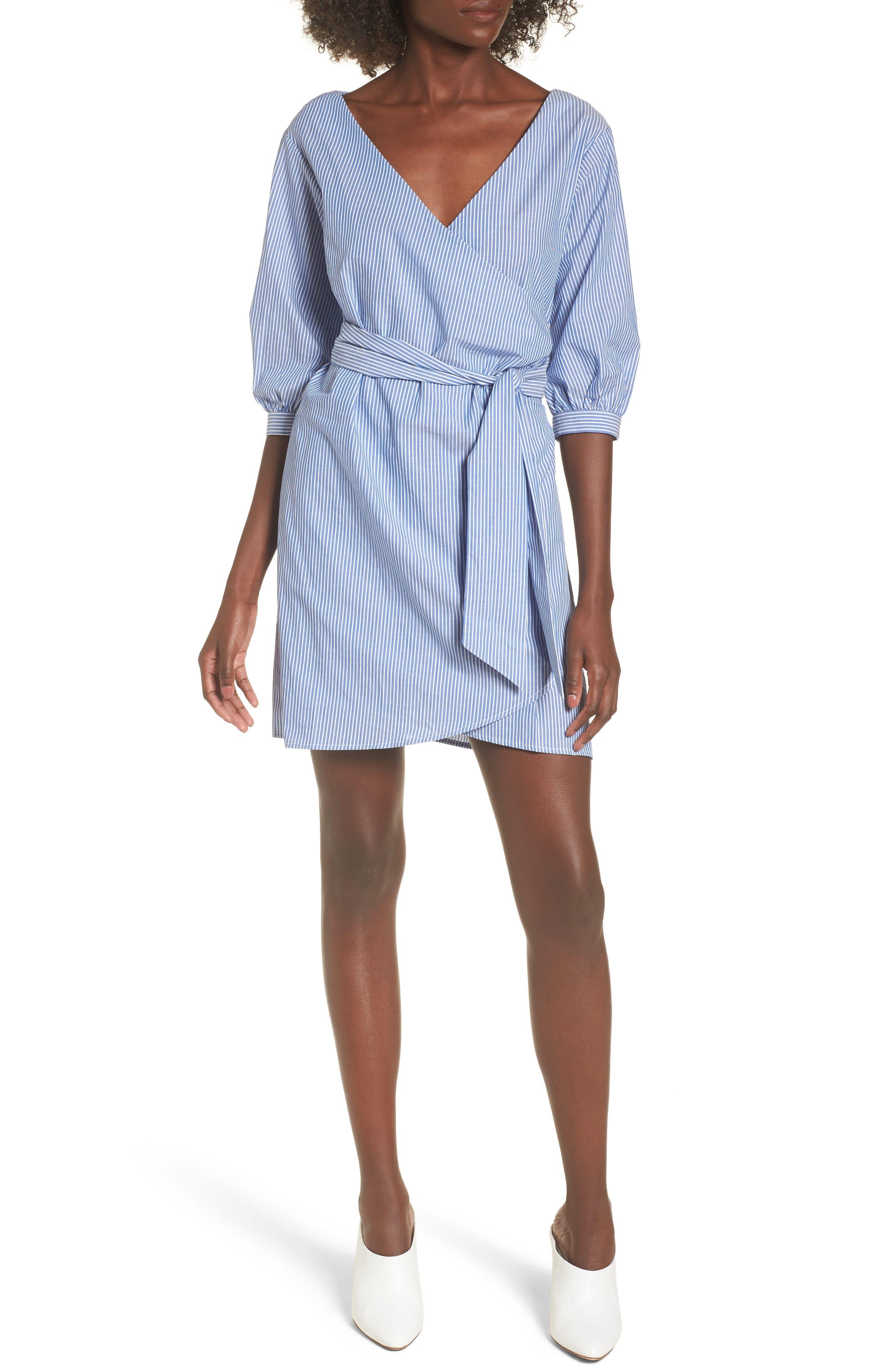 Cotton Poplin Wrap Dress,                             Main thumbnail 1, color,                             Blue White Stripe