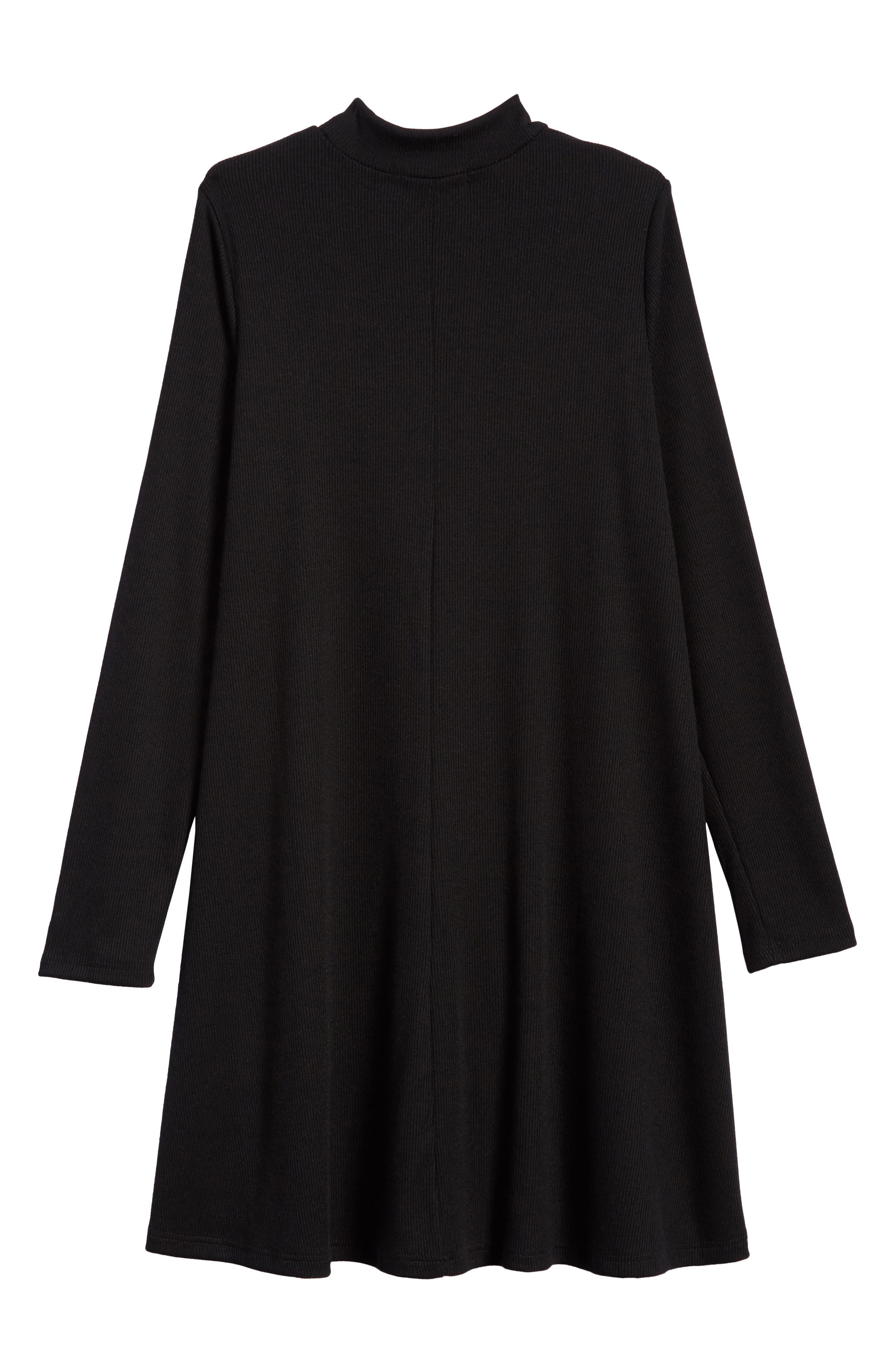 Mock Neck Knit Dress,                             Alternate thumbnail 2, color,                             Black