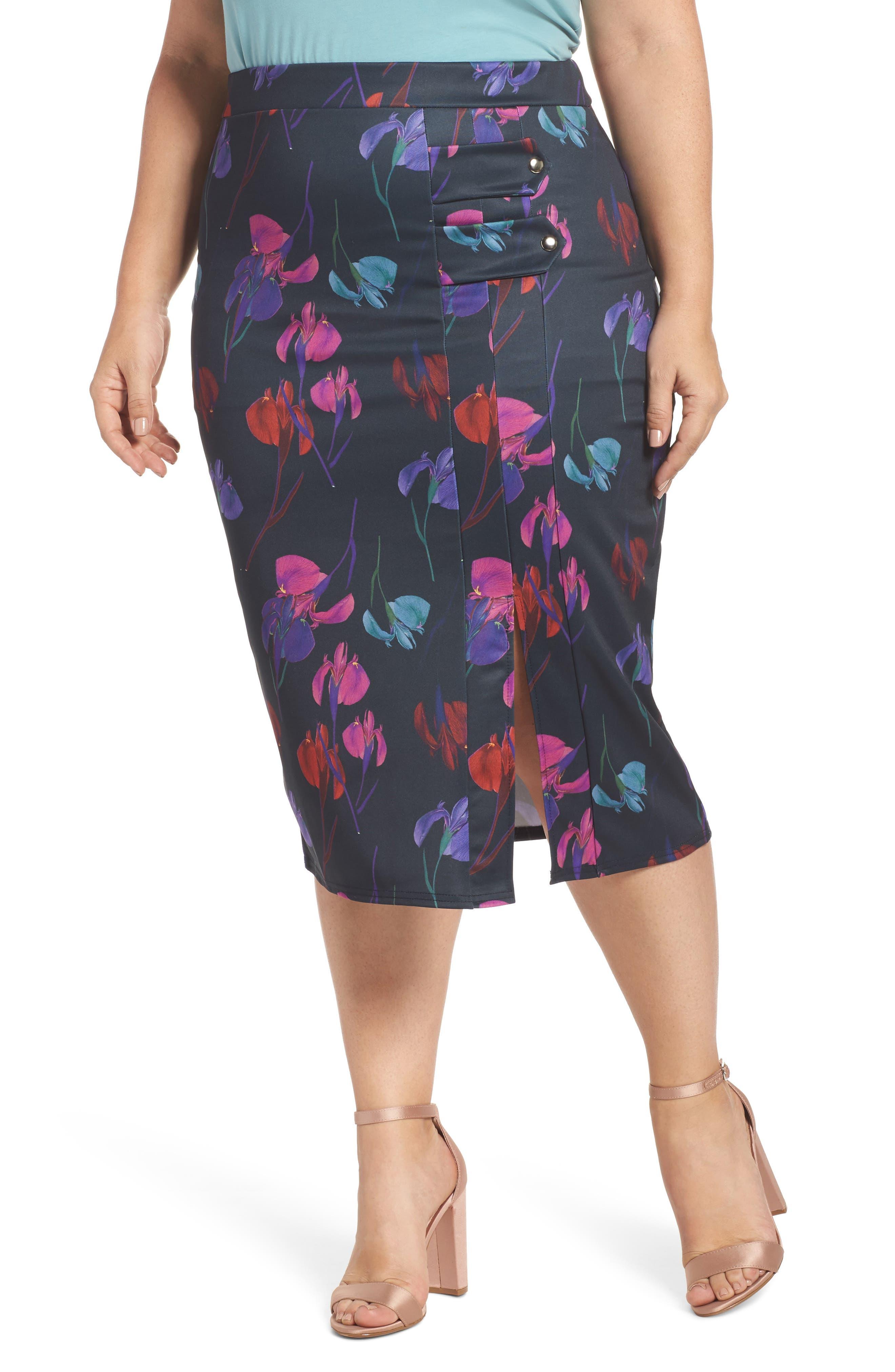 Alternate Image 1 Selected - LOST INK Rainbow Orchid Pencil Skirt (Plus Size)