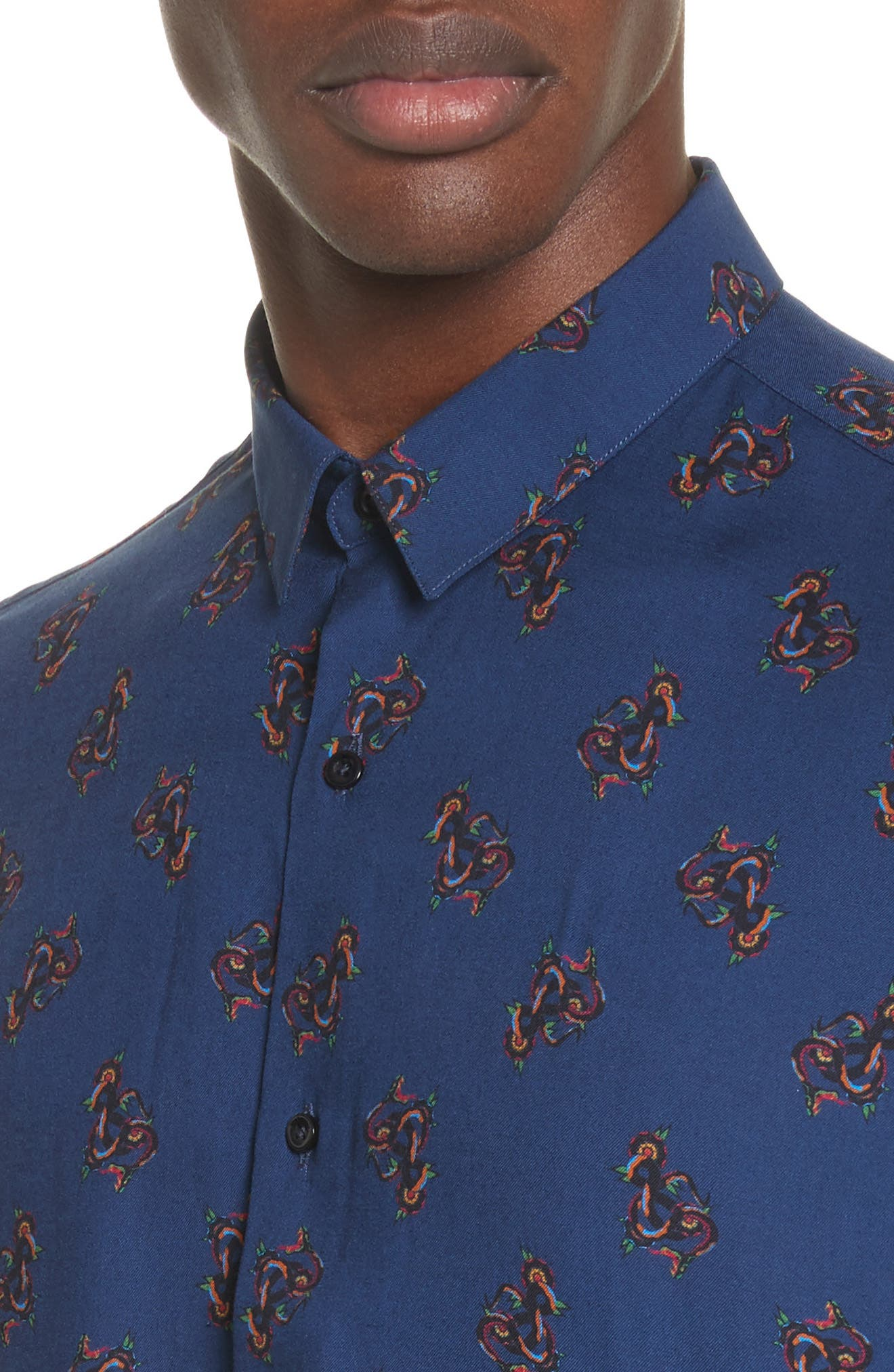 Print Woven Shirt,                             Alternate thumbnail 2, color,                             Navy