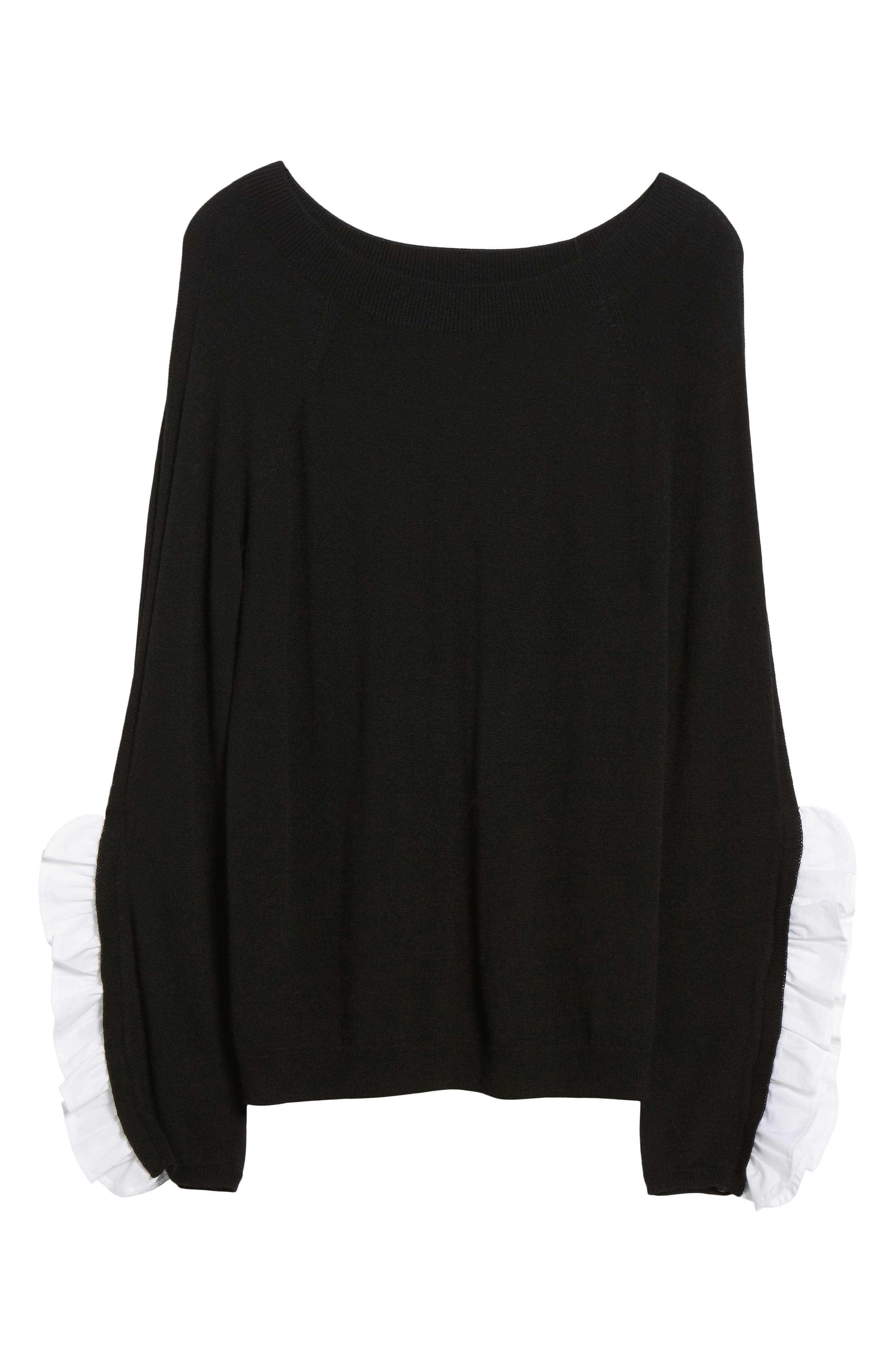 Ruffle Sleeve Sweater,                             Alternate thumbnail 6, color,                             Black