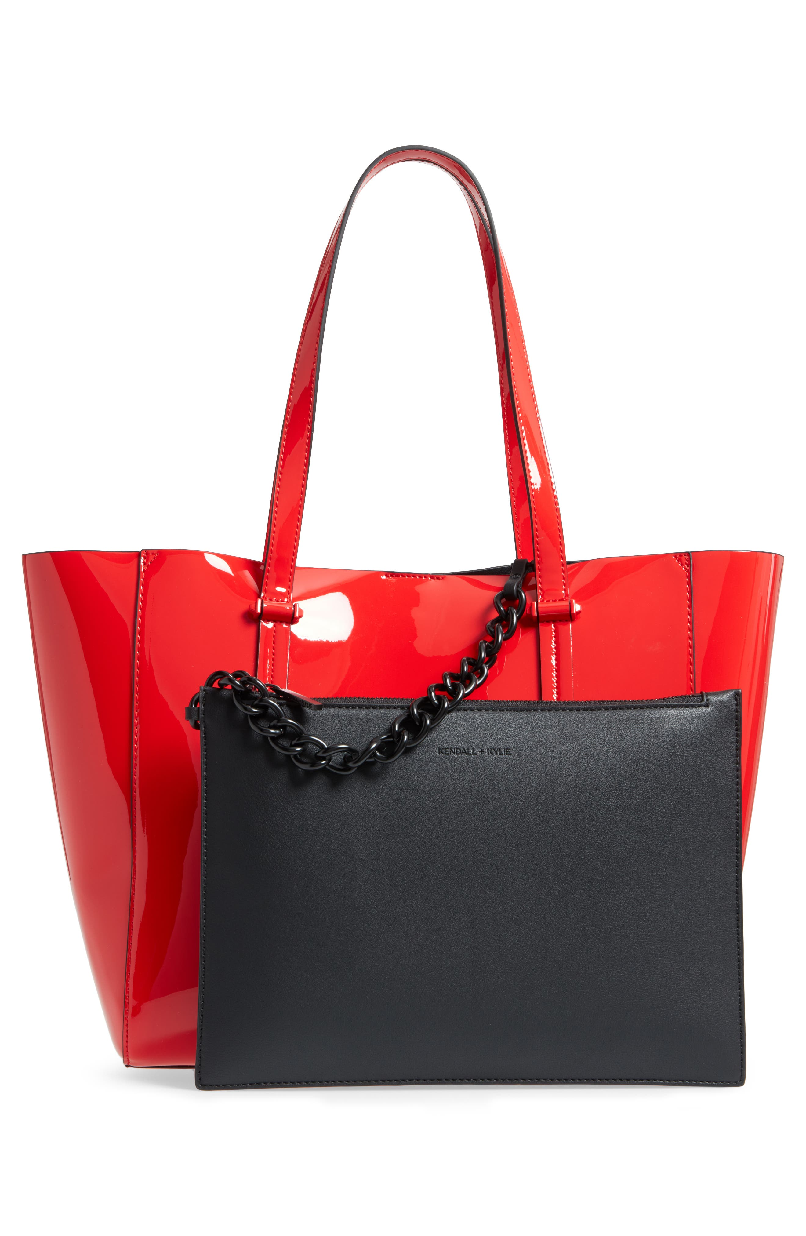 Izzy Faux Leather Tote,                             Alternate thumbnail 3, color,                             Red