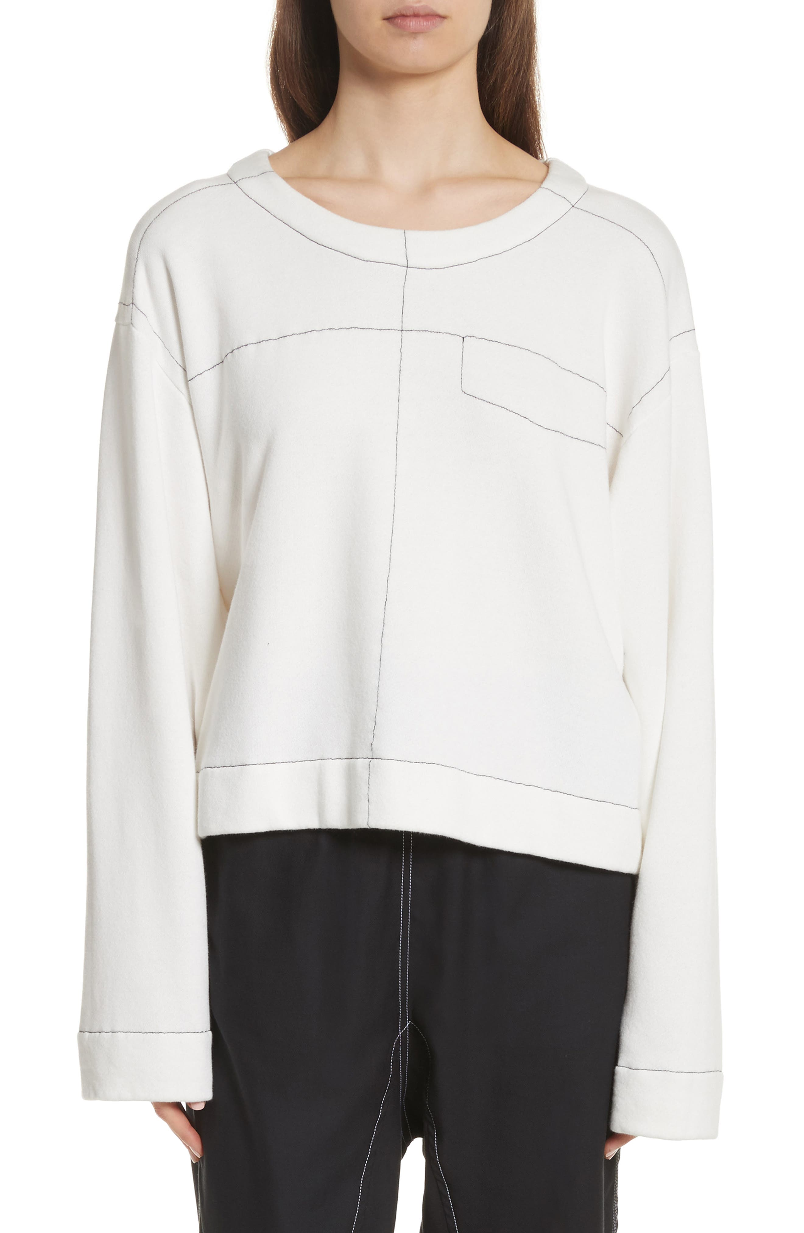 Topstitch Sweater,                         Main,                         color, Off White
