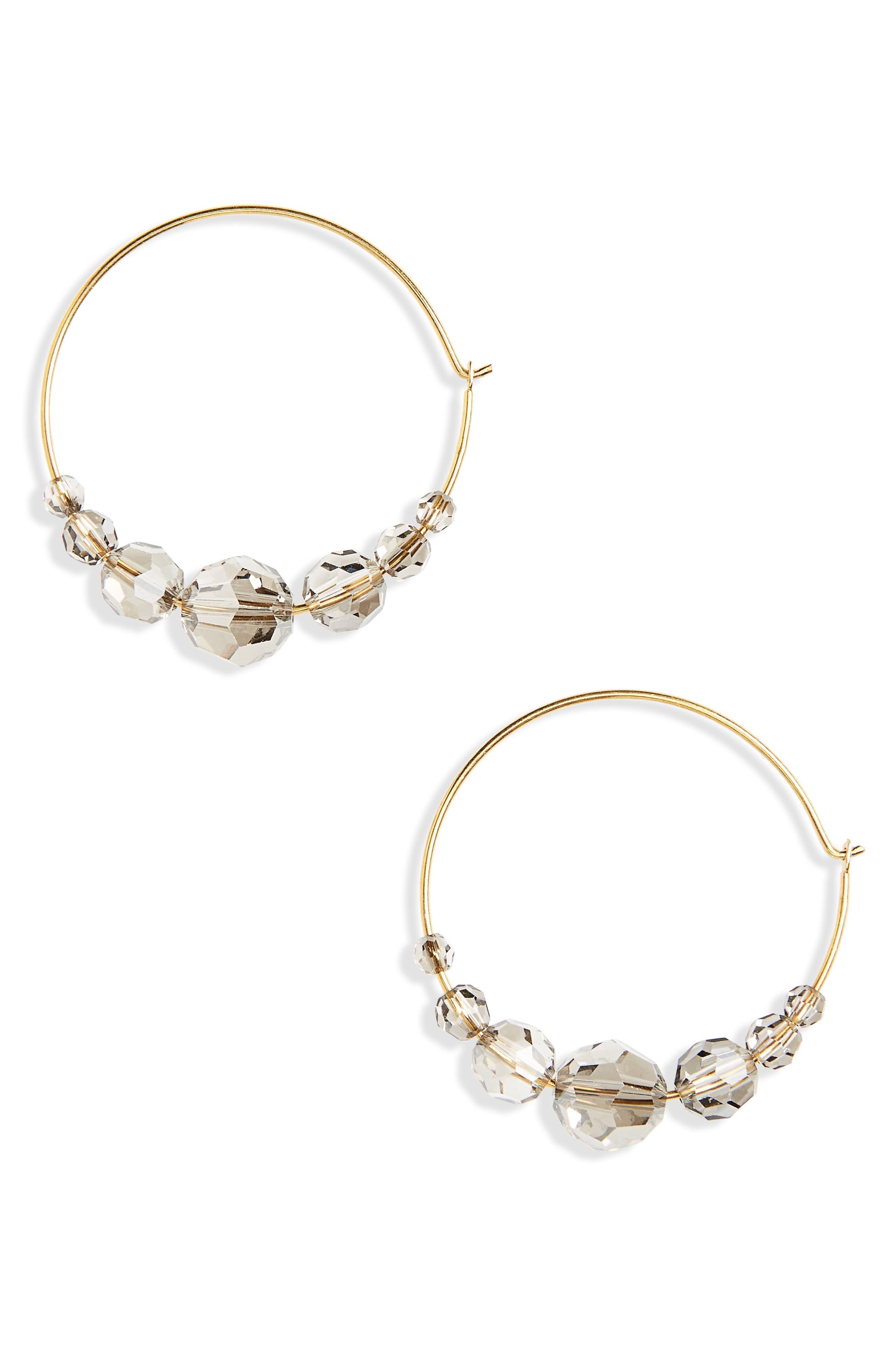 Alternate Image 1 Selected - Chan Luu Graduated Crystal Hoop Earrings