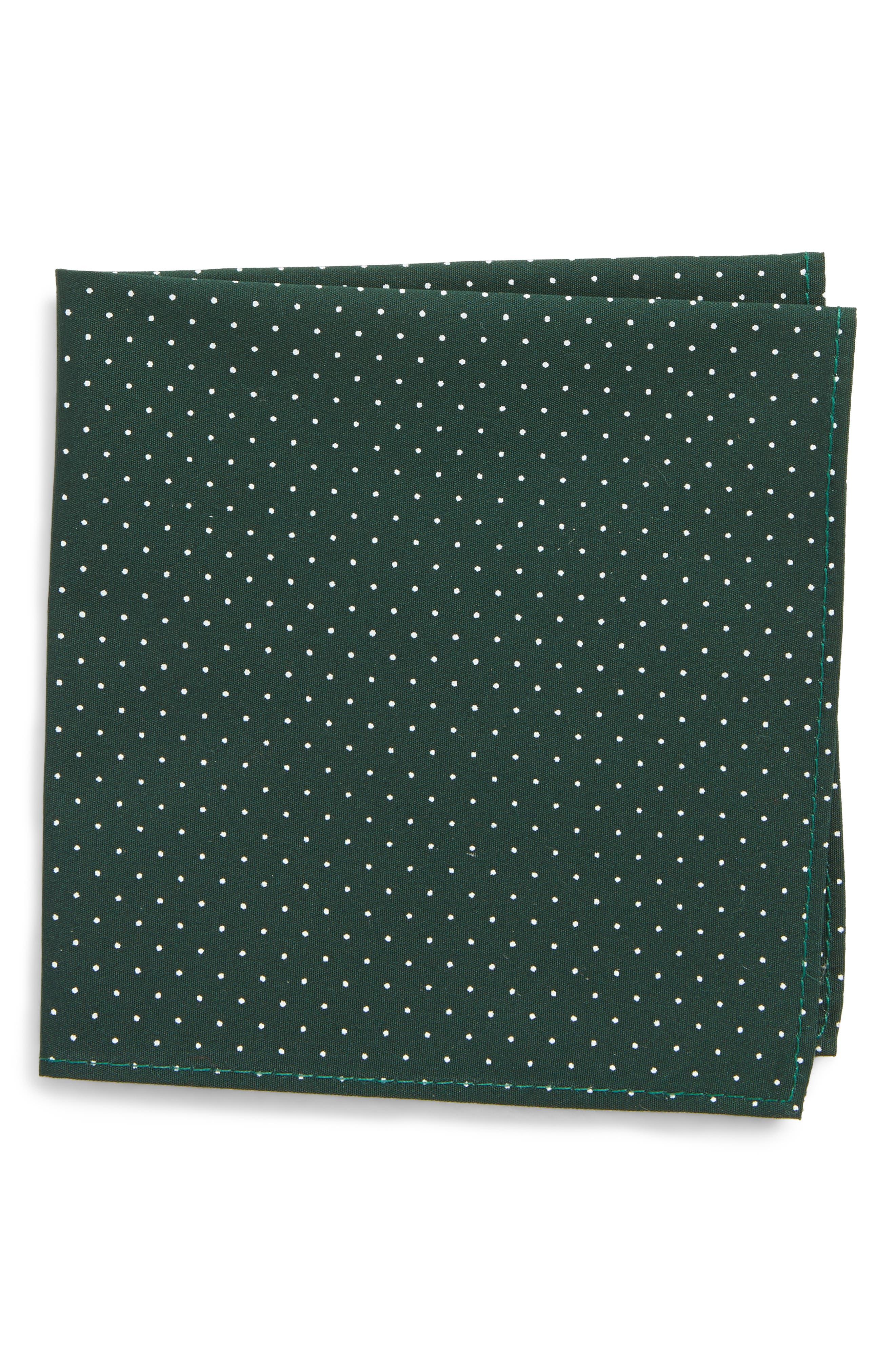 Micro Dot Pocket Square,                         Main,                         color, Bottlegreen