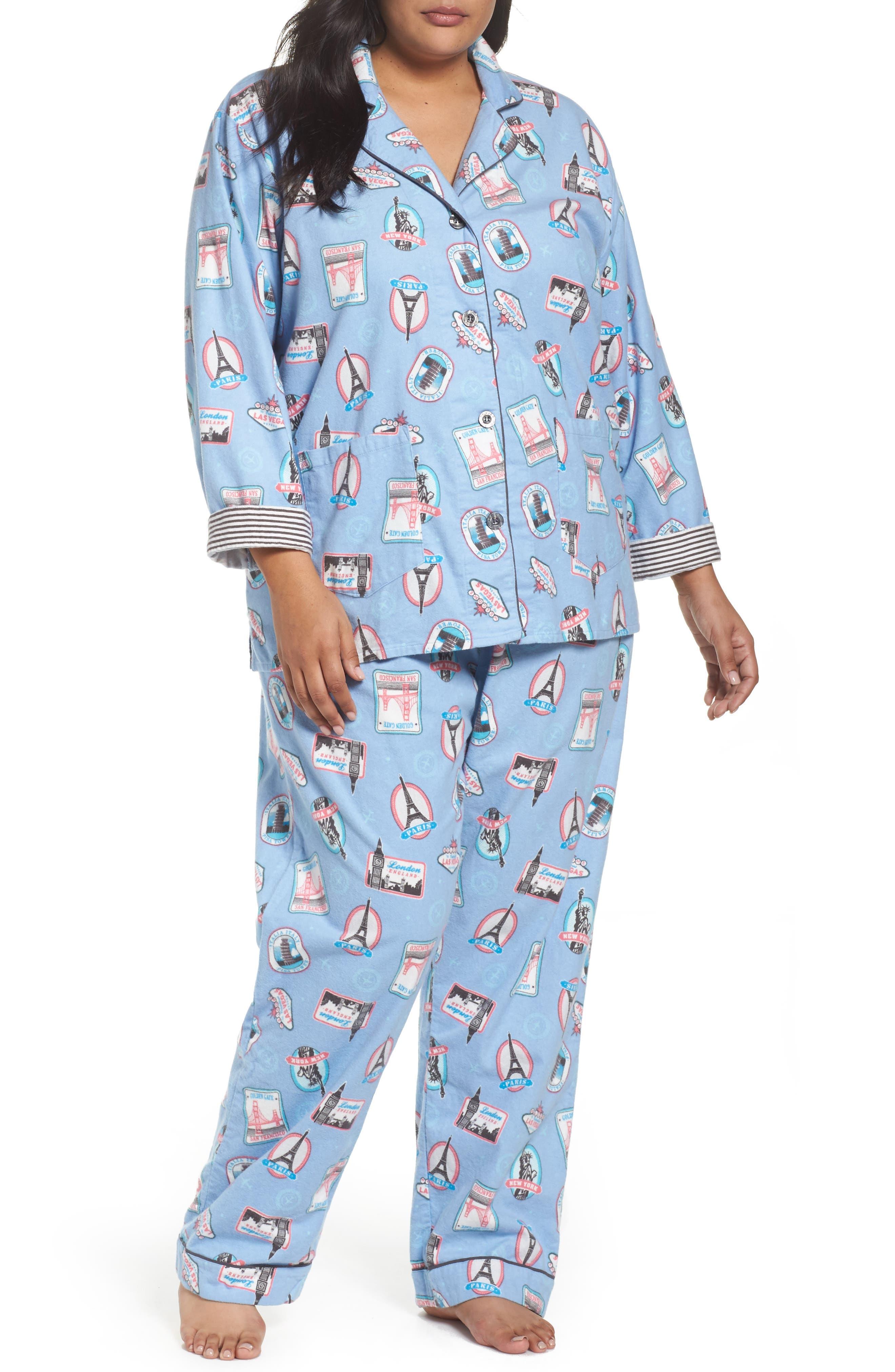 PJ Salvage Playful Print Flannel Pajamas (Plus Size)