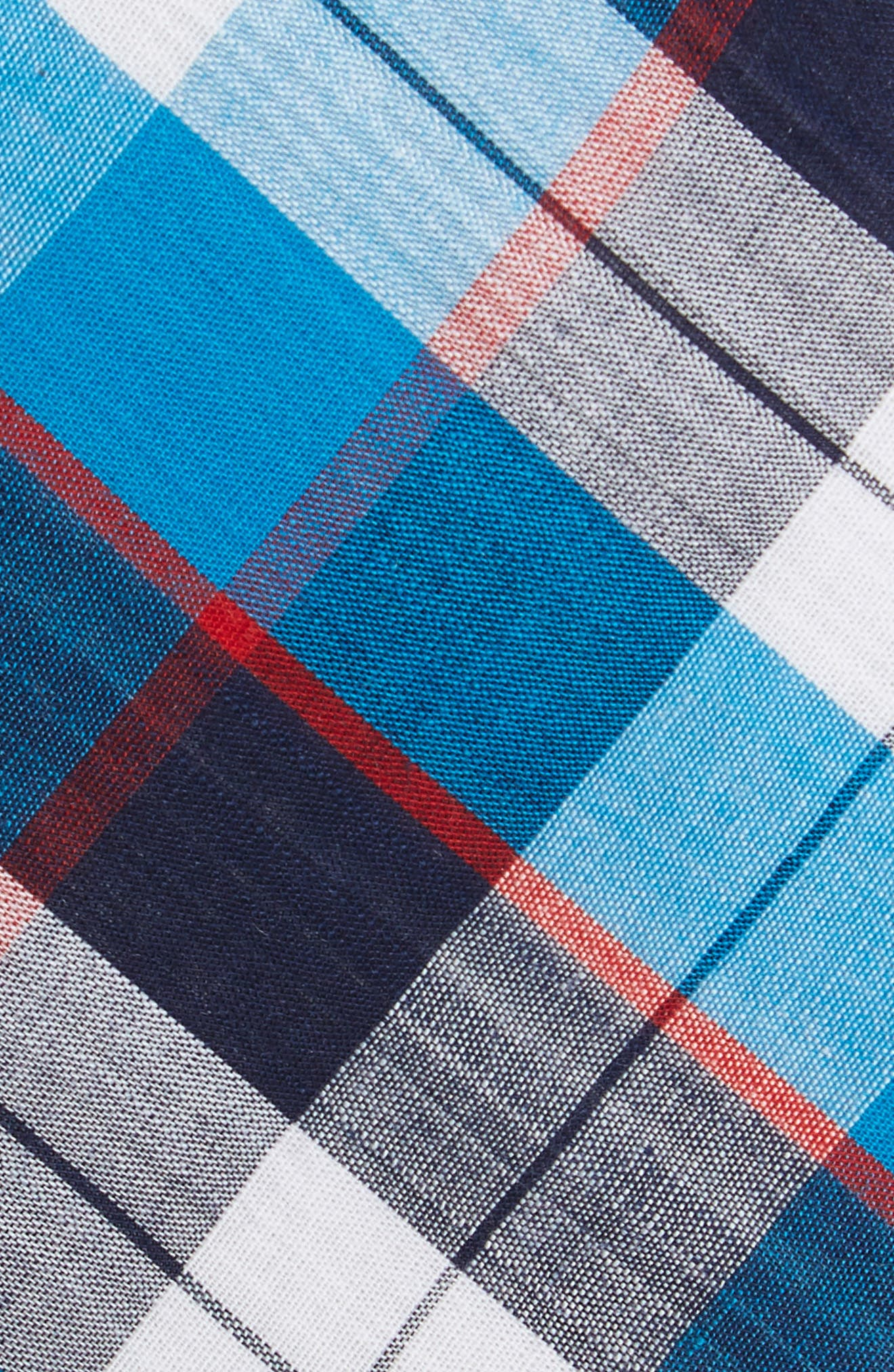 Esterbrook Plaid Cotton Skinny Tie,                             Alternate thumbnail 2, color,                             Navy