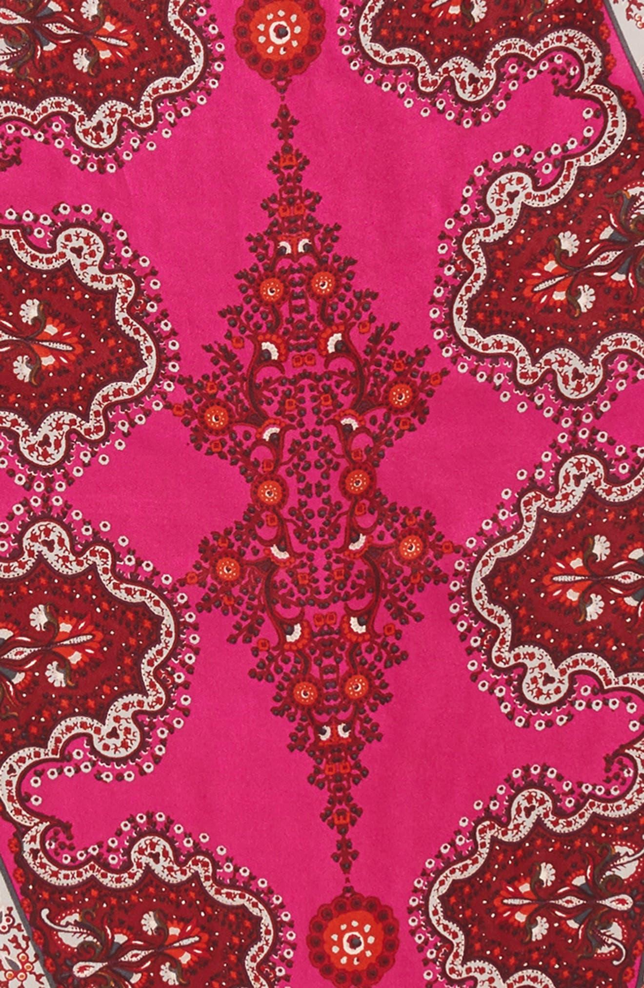 Paisley Lace Diamond Silk Scarf,                             Alternate thumbnail 4, color,                             Port