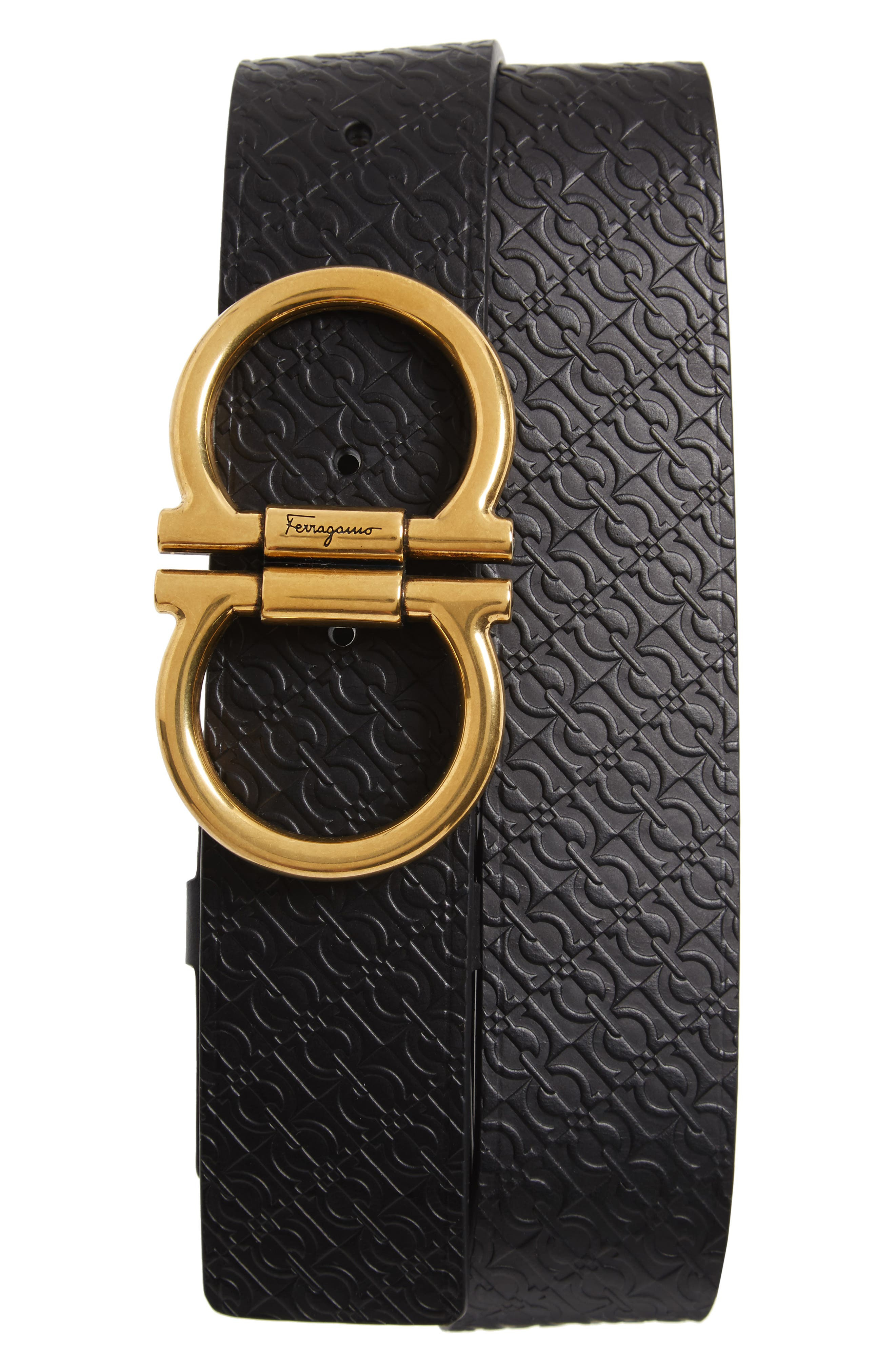 Salvatore Ferragamo Stamped Micro Gancini Leather Belt