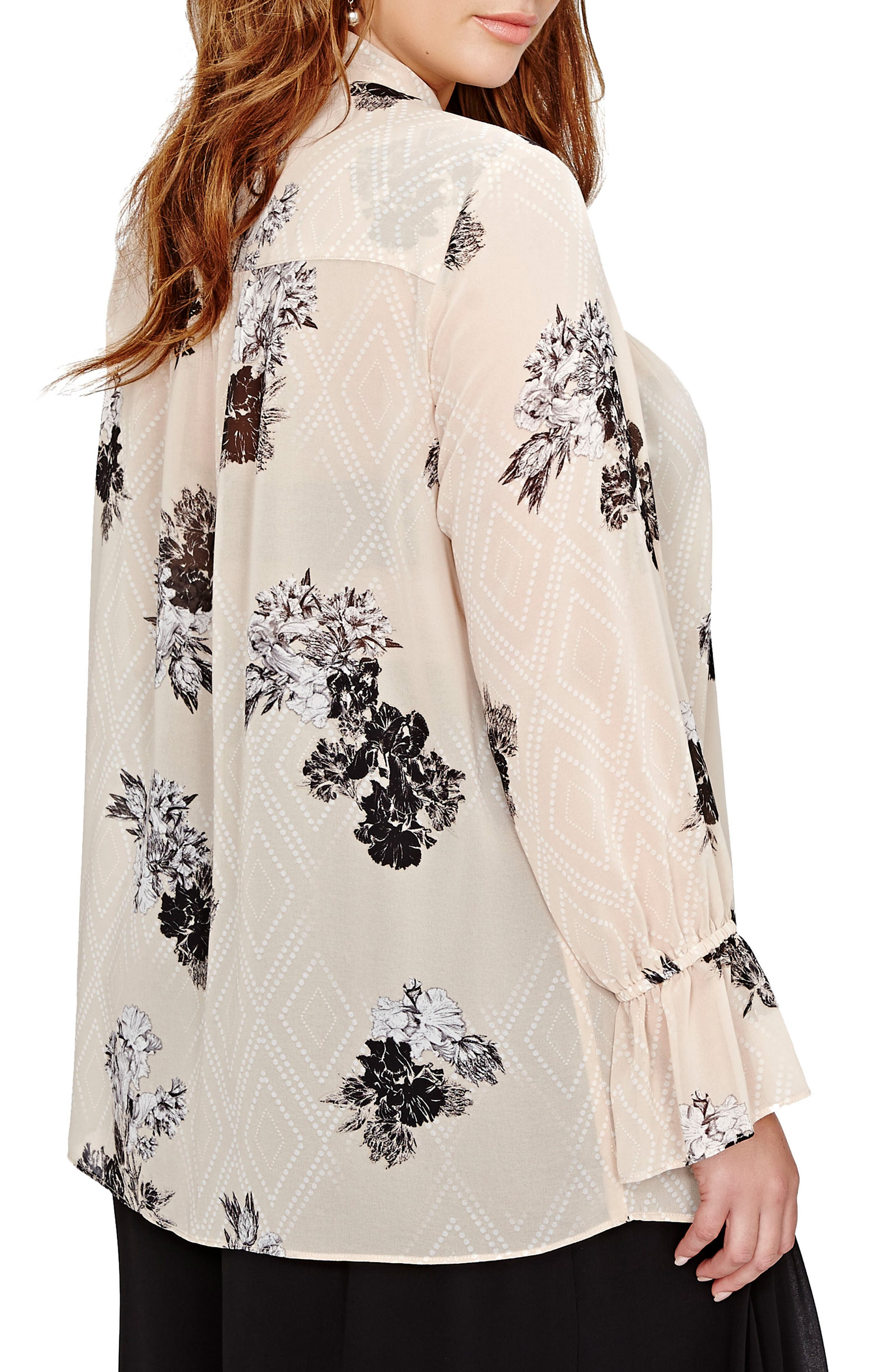 Alternate Image 2  - MICHEL STUDIO Floral Print Bell Sleeve Top (Plus Size)