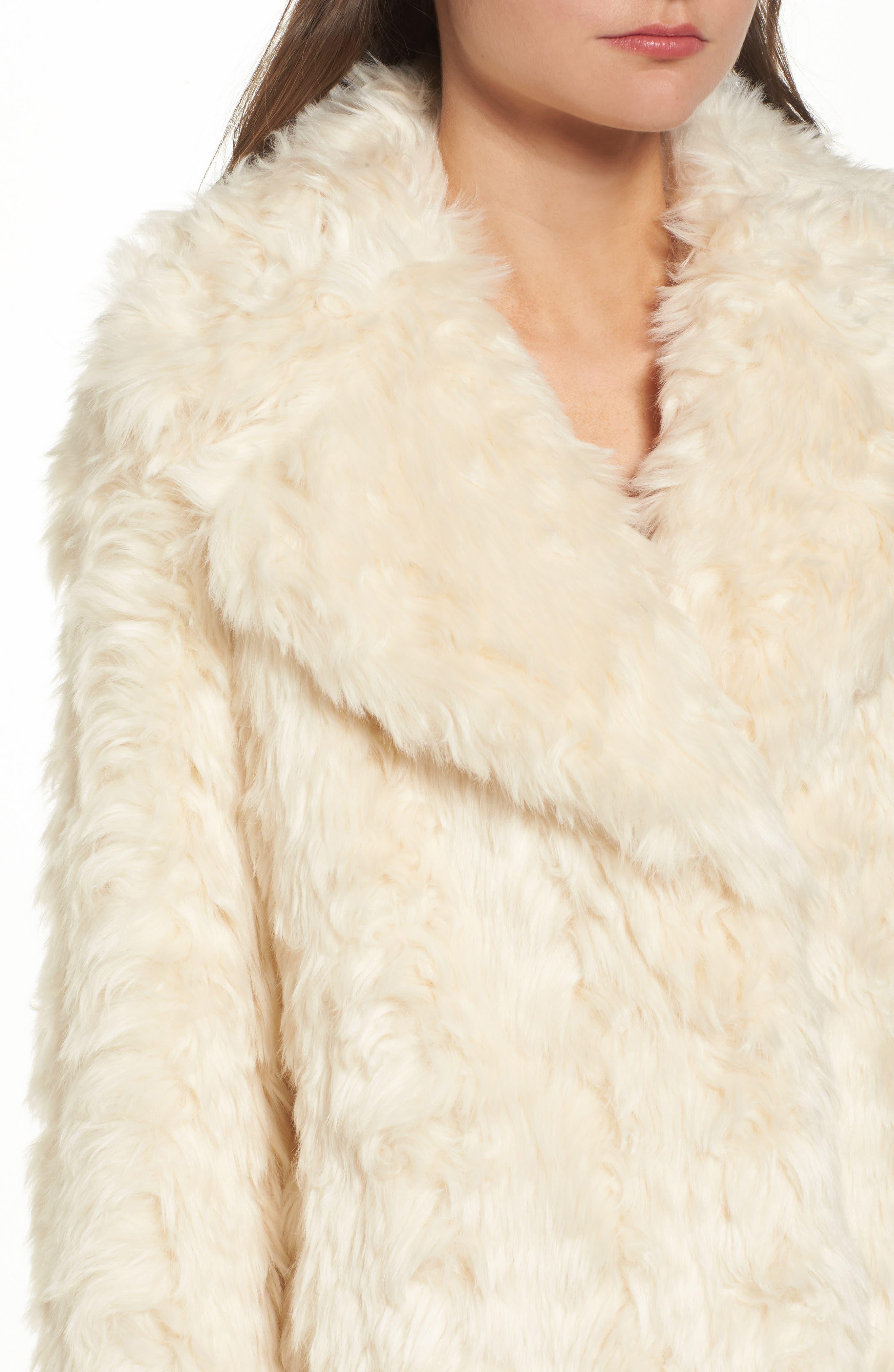 Curly Faux Fur Coat,                             Alternate thumbnail 4, color,                             Ivory