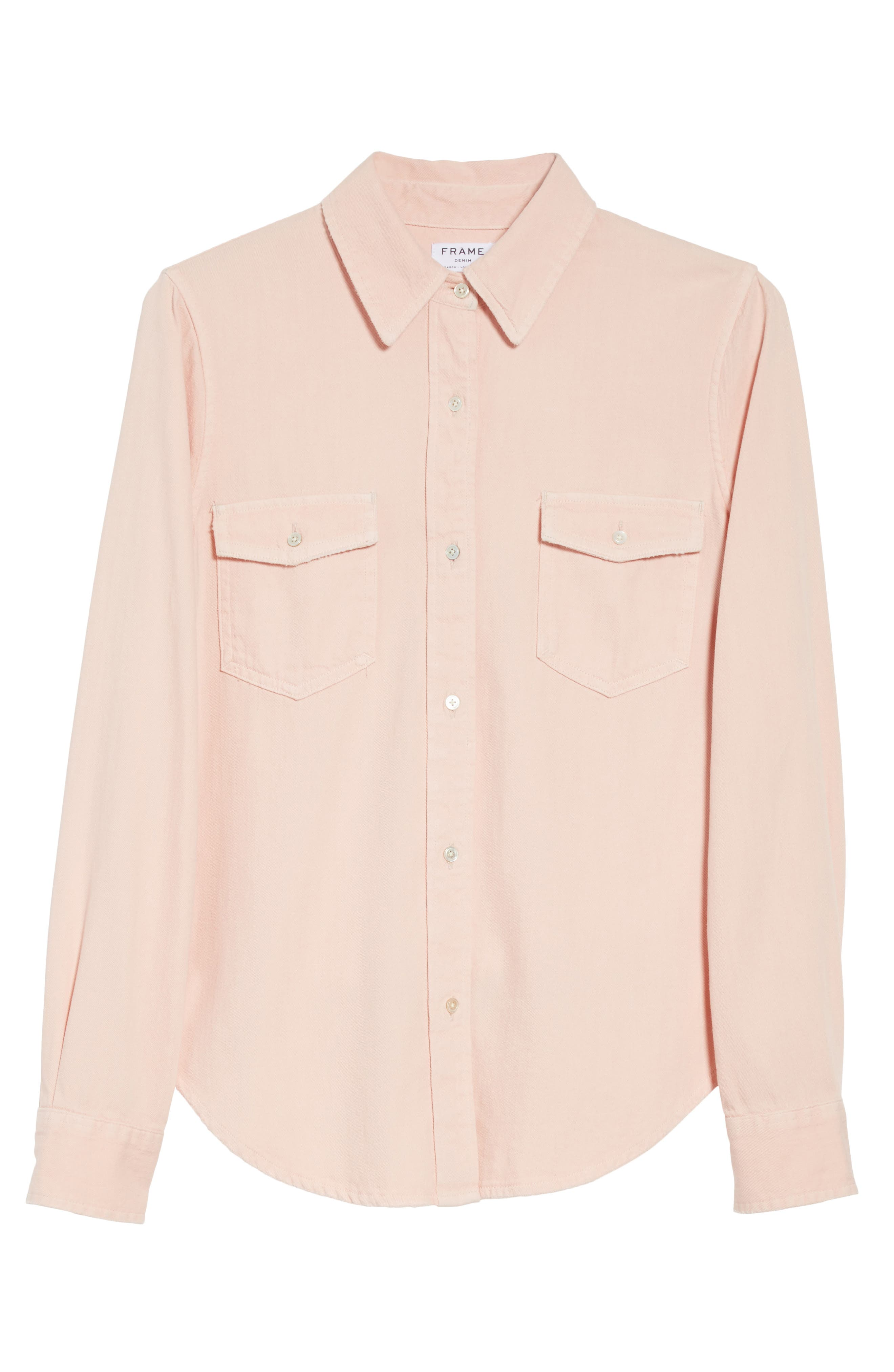 Denim Military Shirt,                             Alternate thumbnail 7, color,                             Faded Light Pink Exclusive