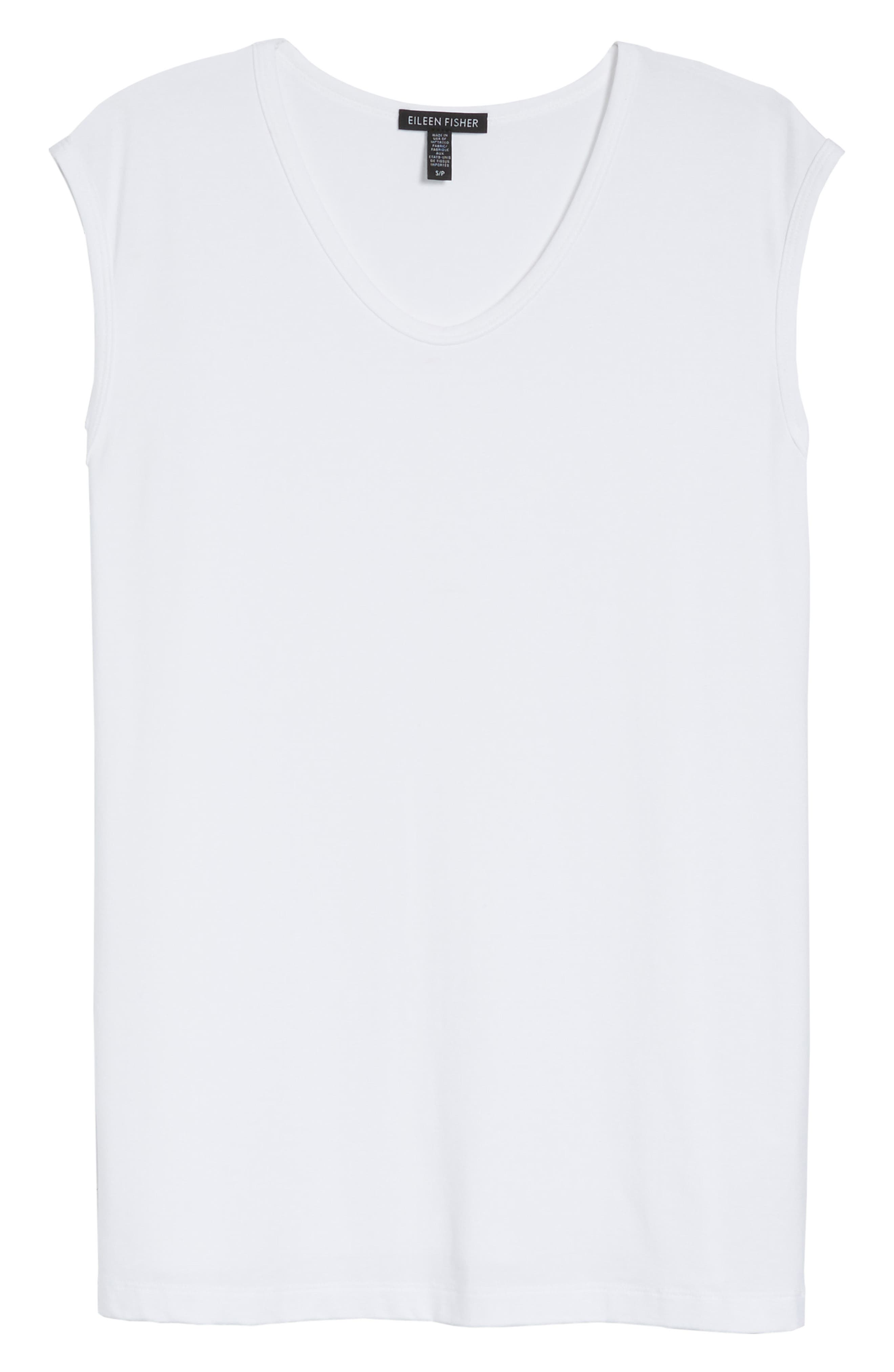 U-Neck Stretch Jersey Tunic,                             Alternate thumbnail 7, color,                             White