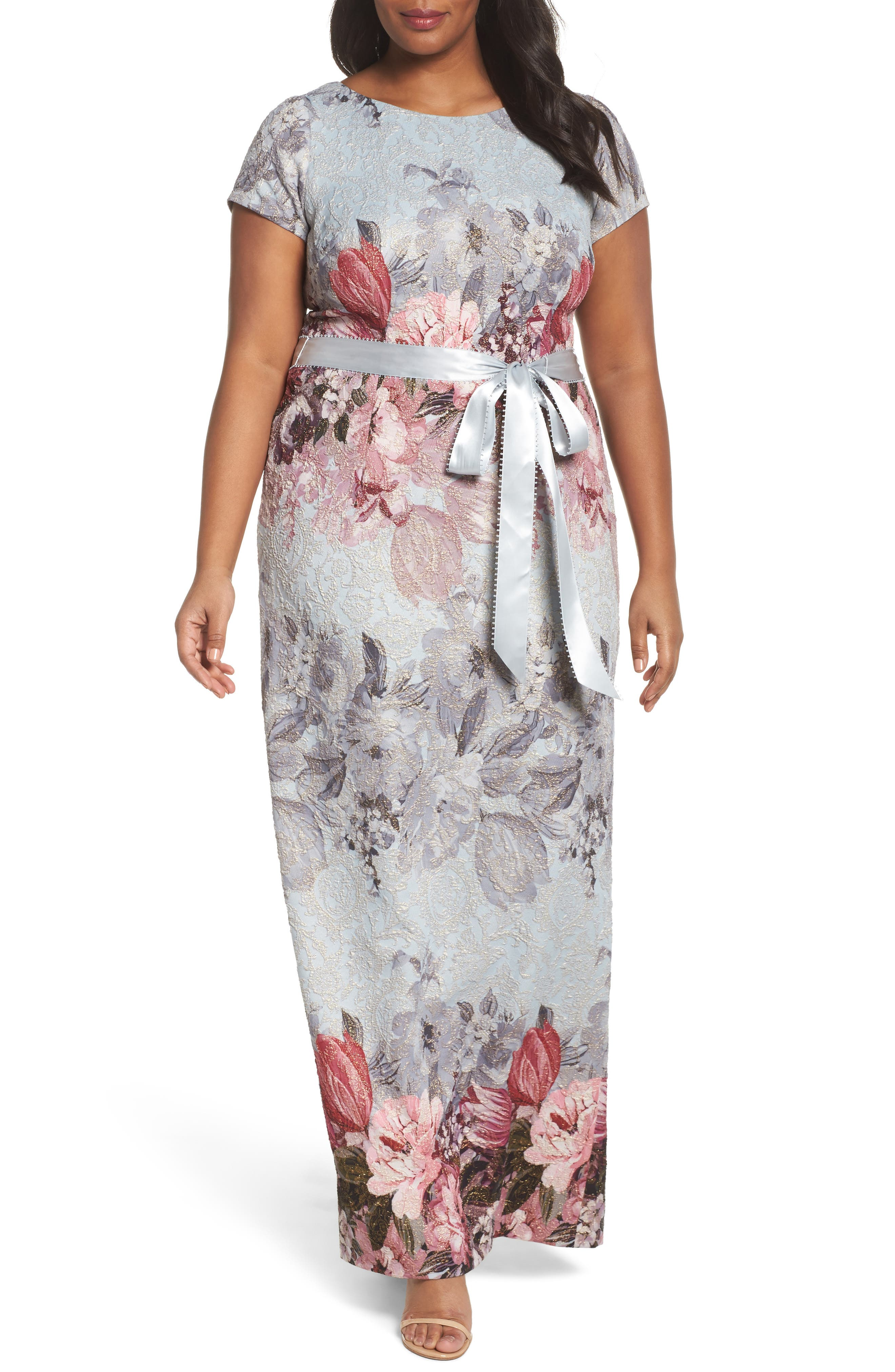 Adrianna Papell Metallic Maxi Dress (Plus Size)
