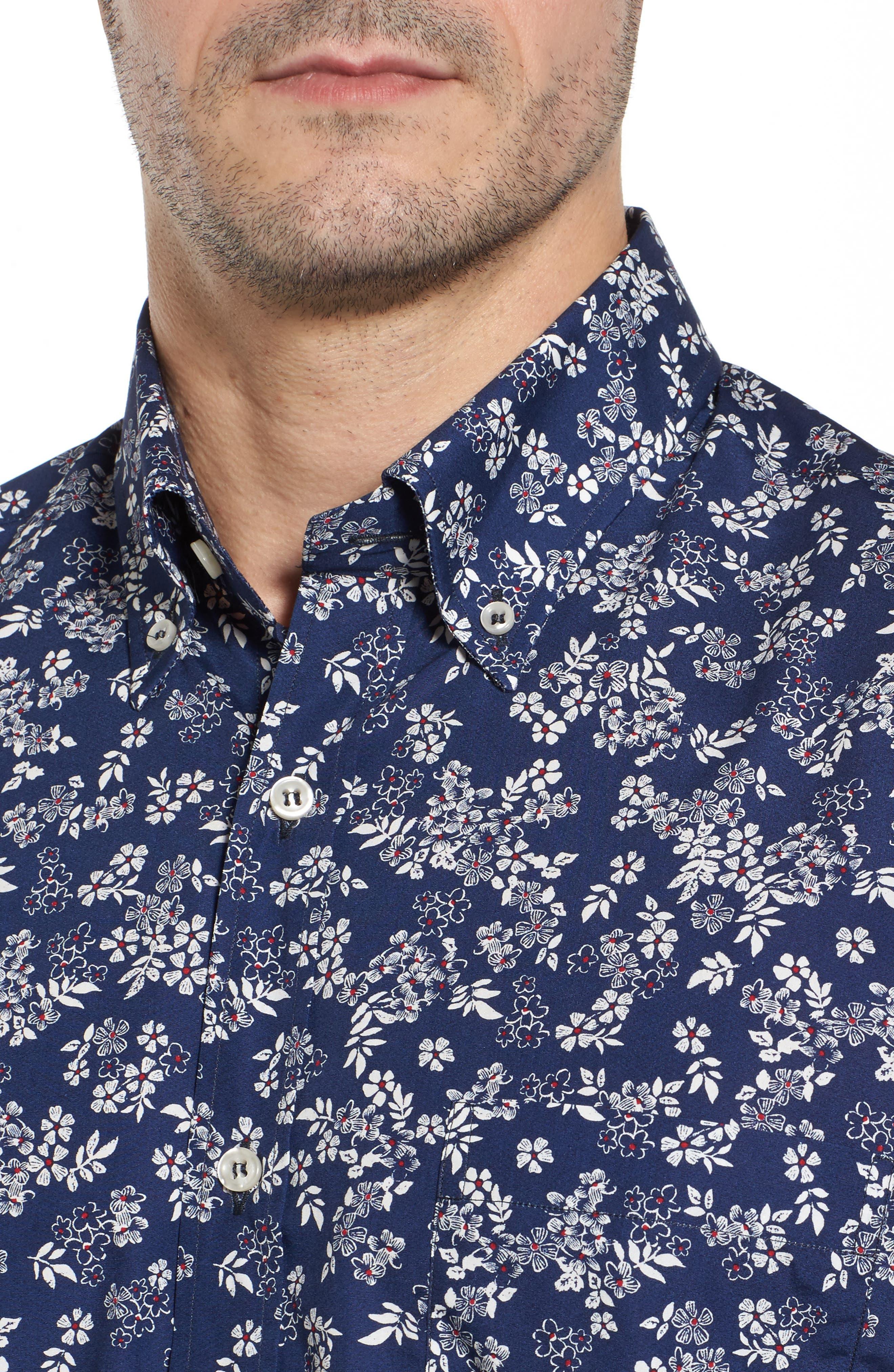 Alternate Image 4  - Paul & Shark Regular Fit Flower Print Sport Shirt