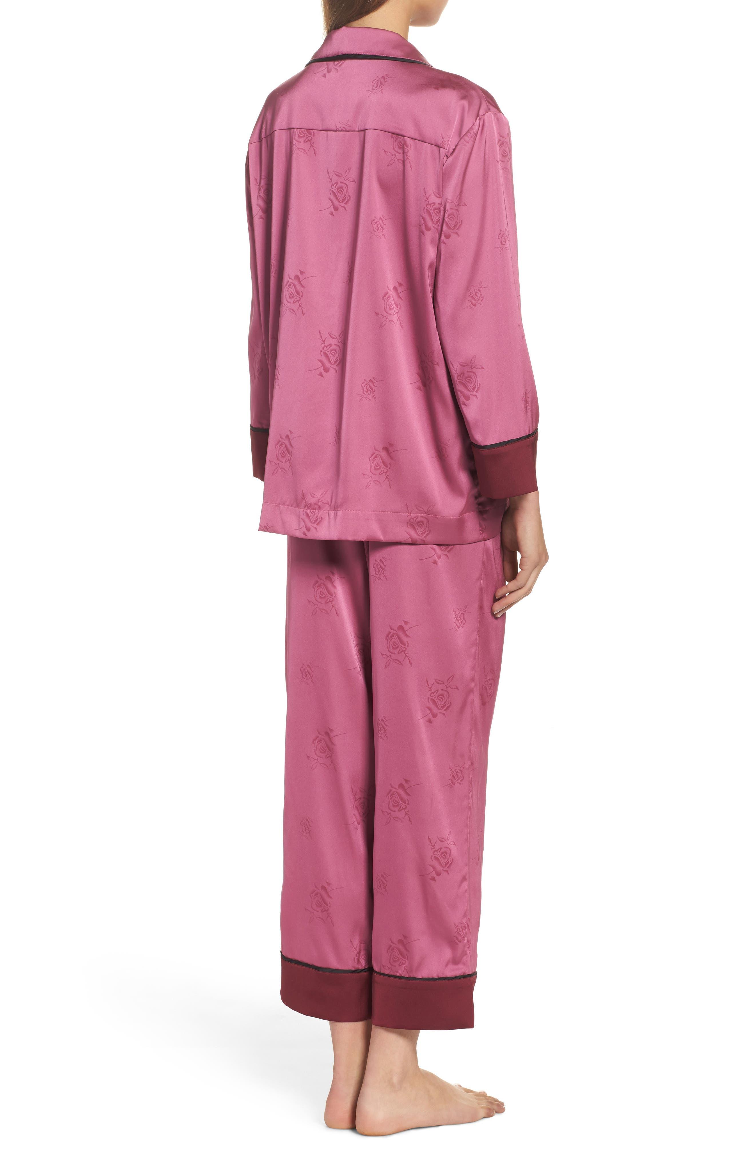 Crop Pajamas,                             Alternate thumbnail 2, color,                             Raspberry