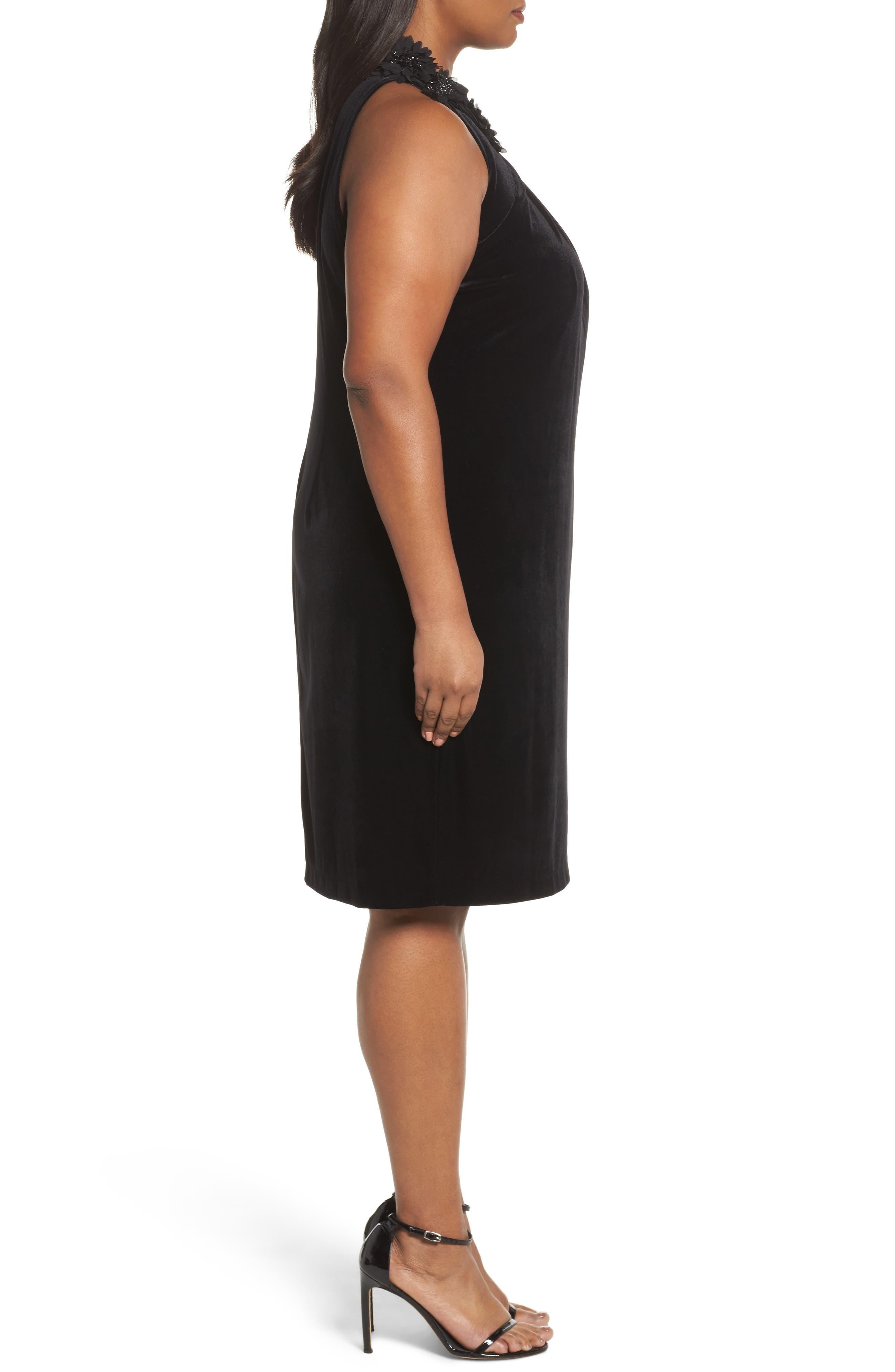 Embellished Velvet Shift Dress,                             Alternate thumbnail 3, color,                             Black