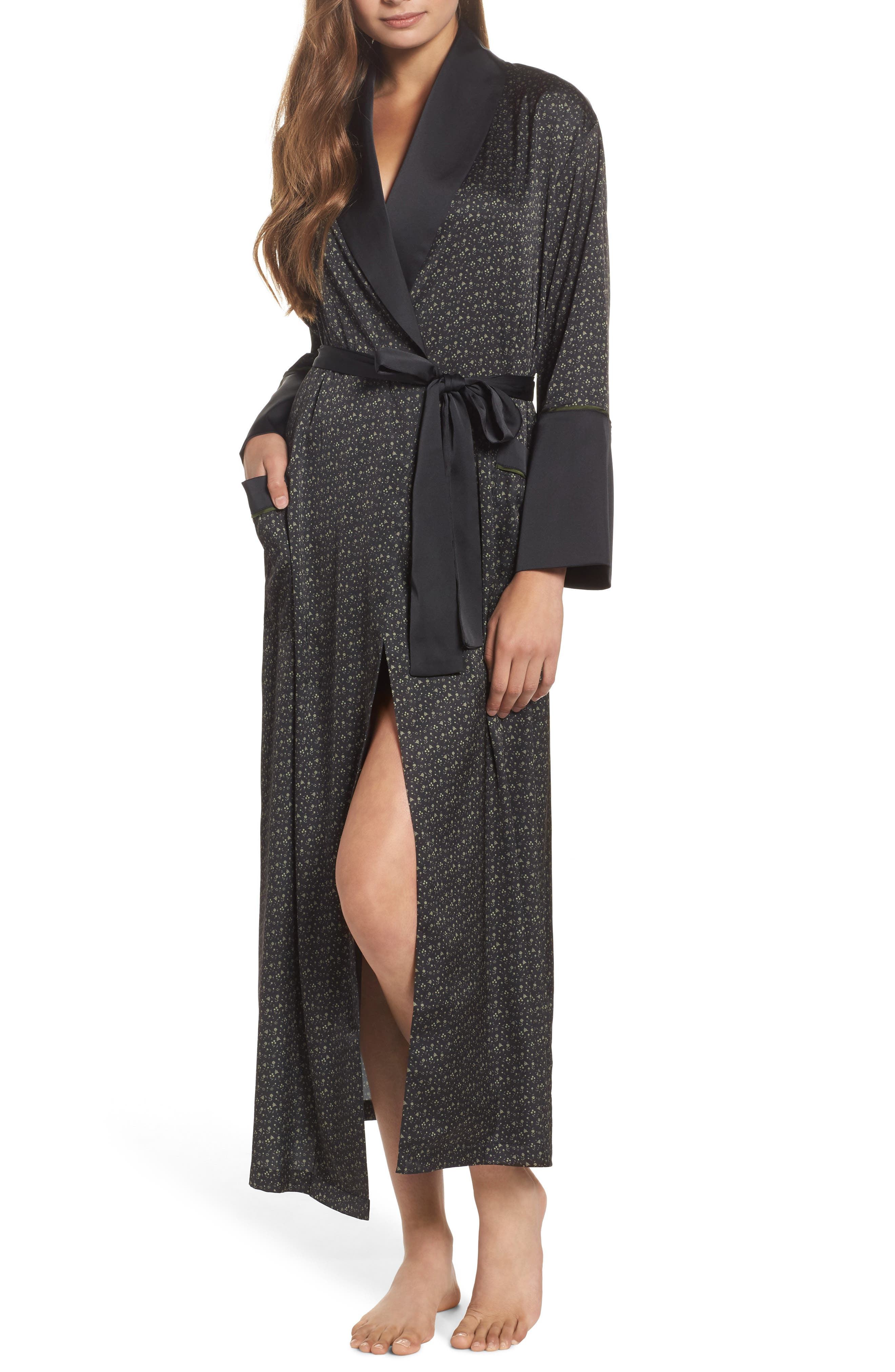 Alternate Image 1 Selected - Bed to Brunch Print Satin Robe