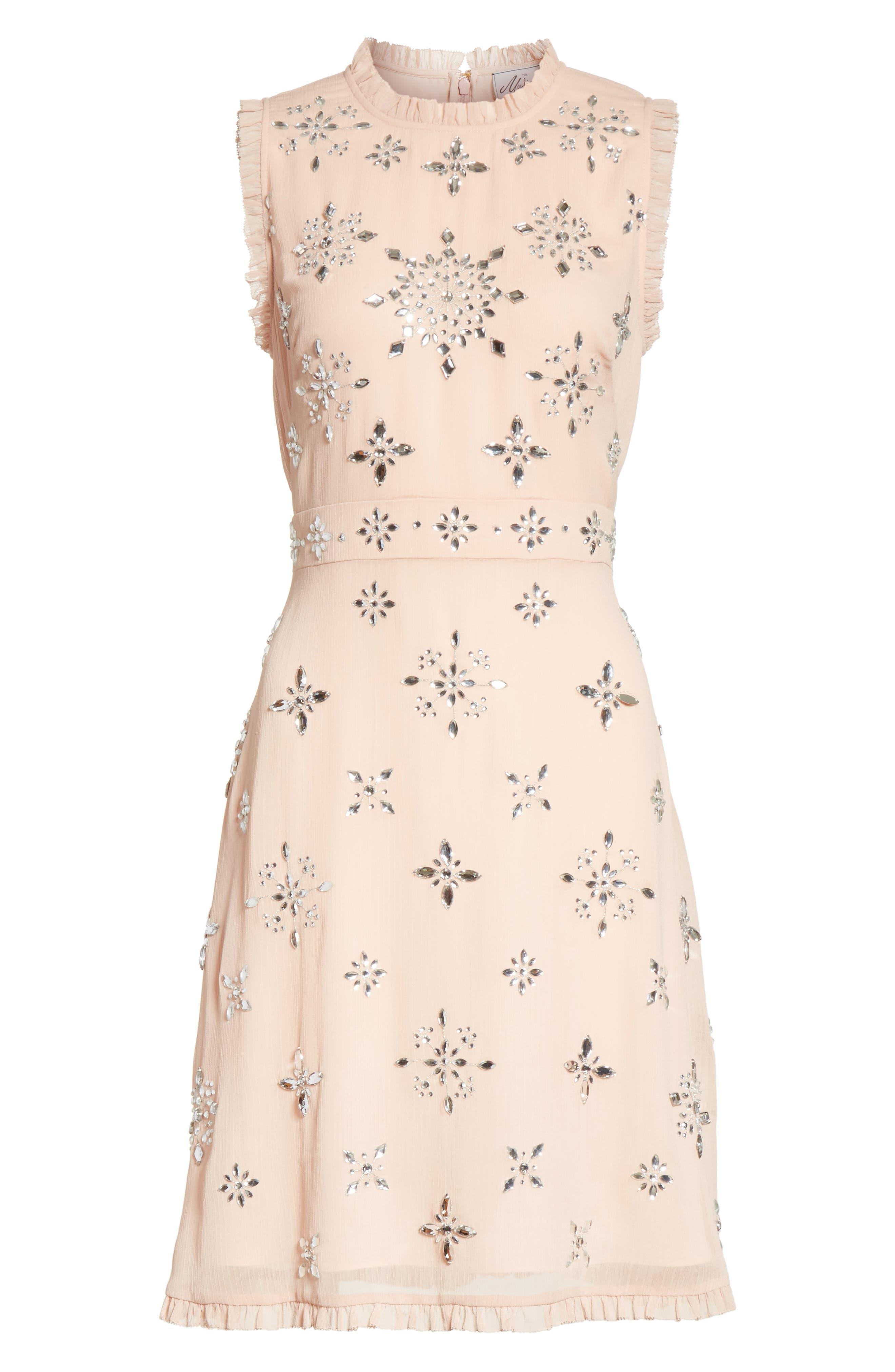 solani embellished chiffon dress,                             Alternate thumbnail 6, color,                             Amaretto