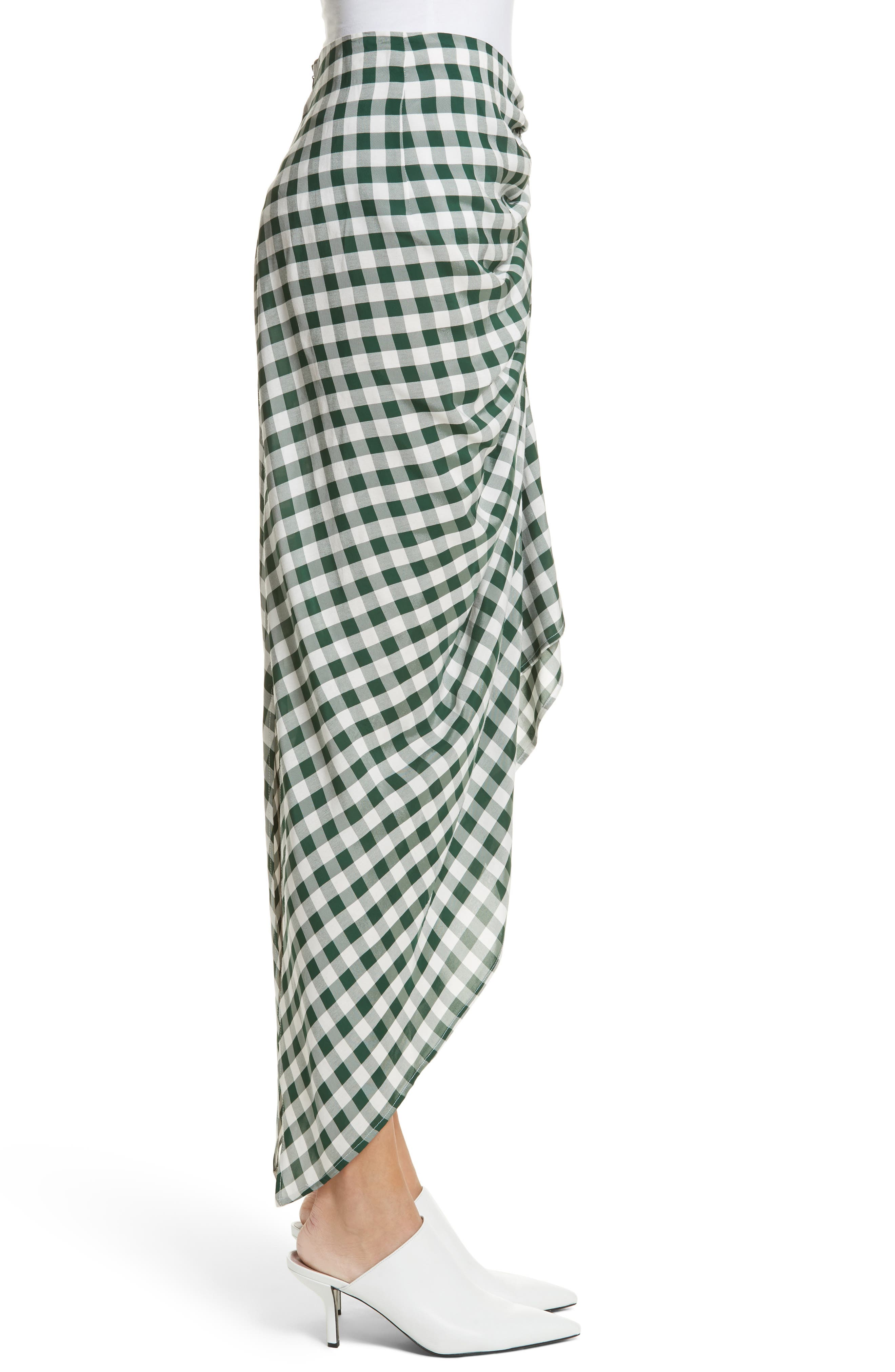 Roman Gingham Jacquard Skirt,                             Alternate thumbnail 3, color,                             Emerald