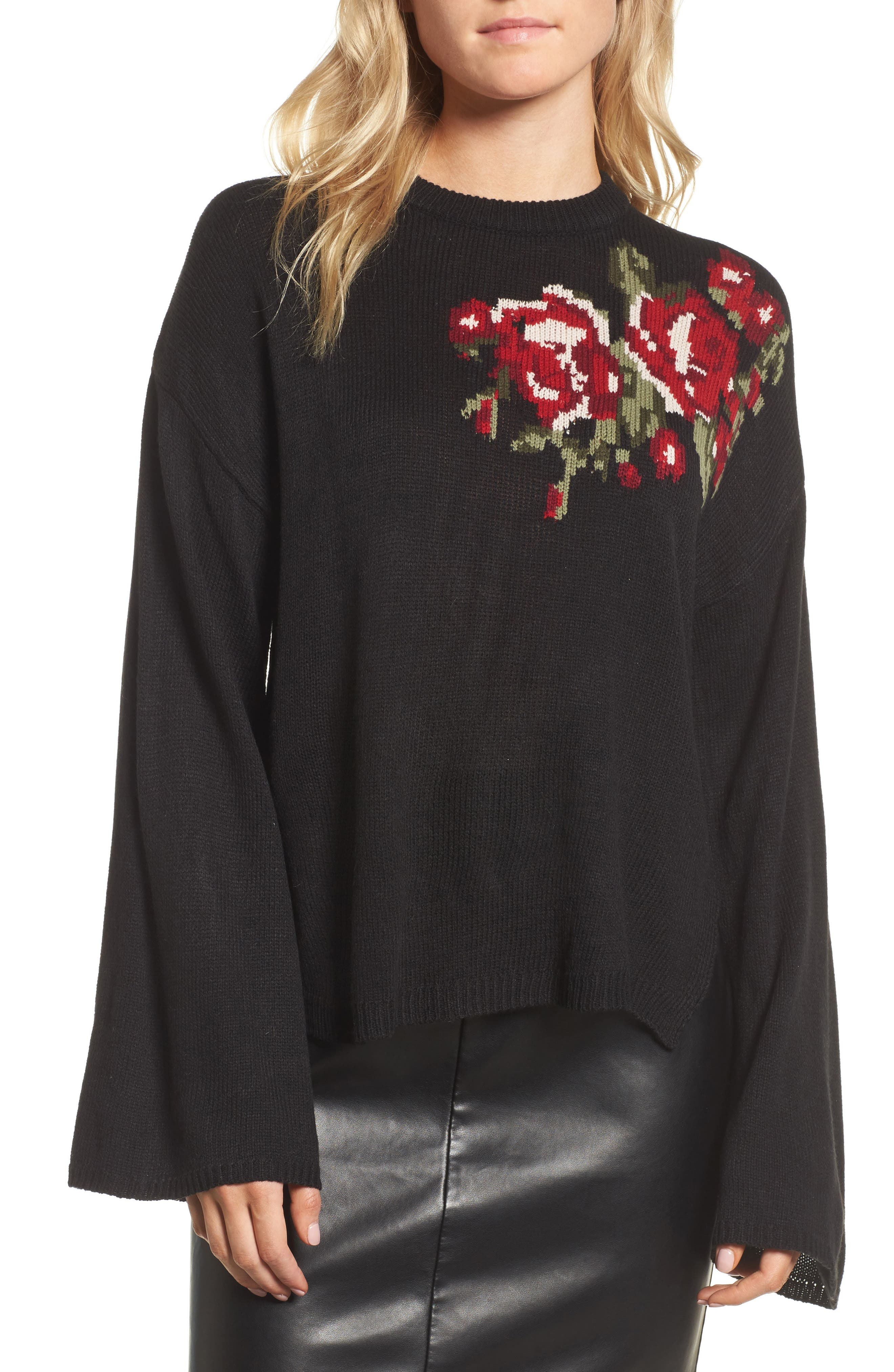 Starla Bell Sleeve Sweater,                         Main,                         color, Black