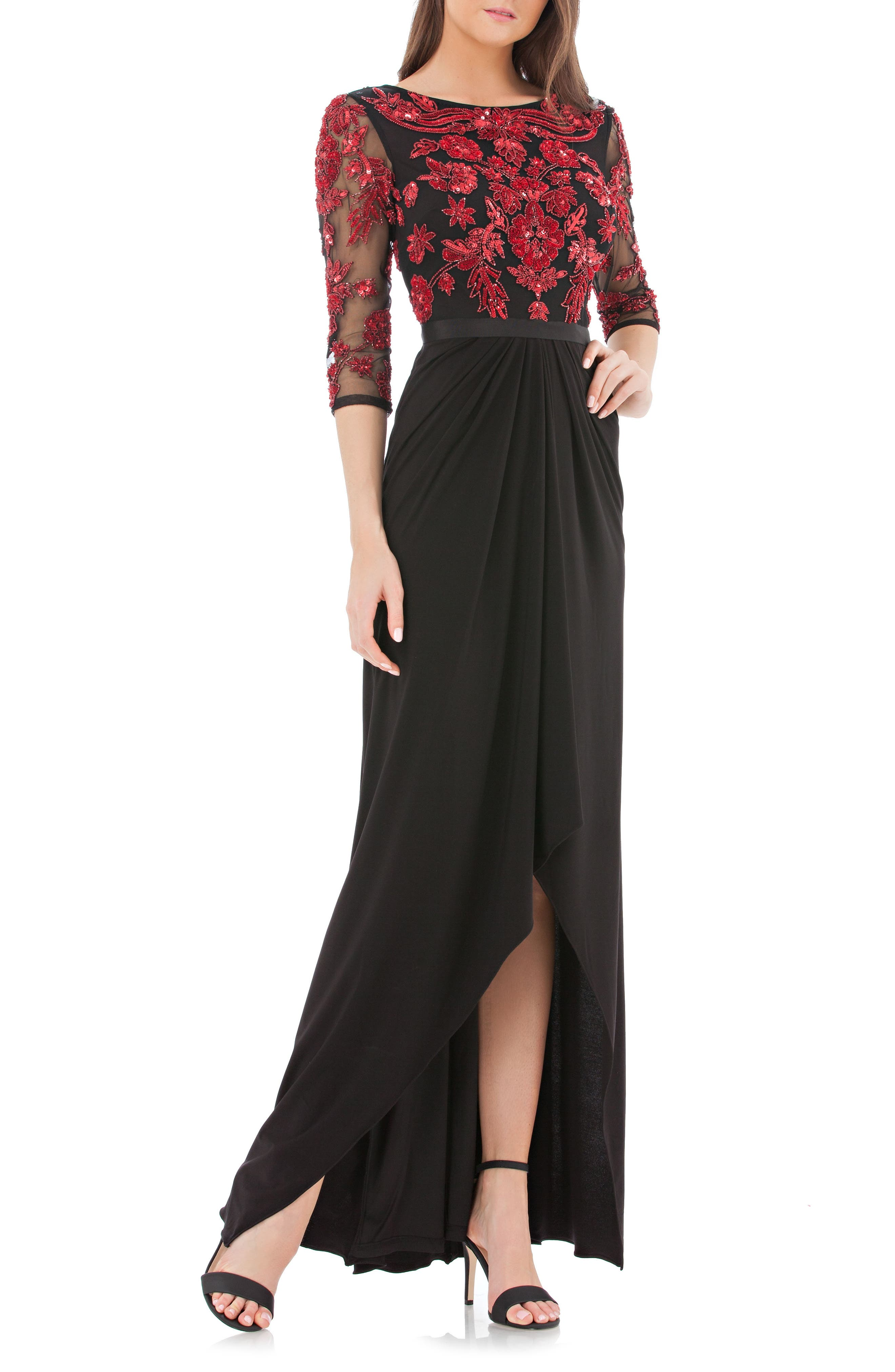 Embellished Bodice Gown,                             Main thumbnail 1, color,                             Red/ Black