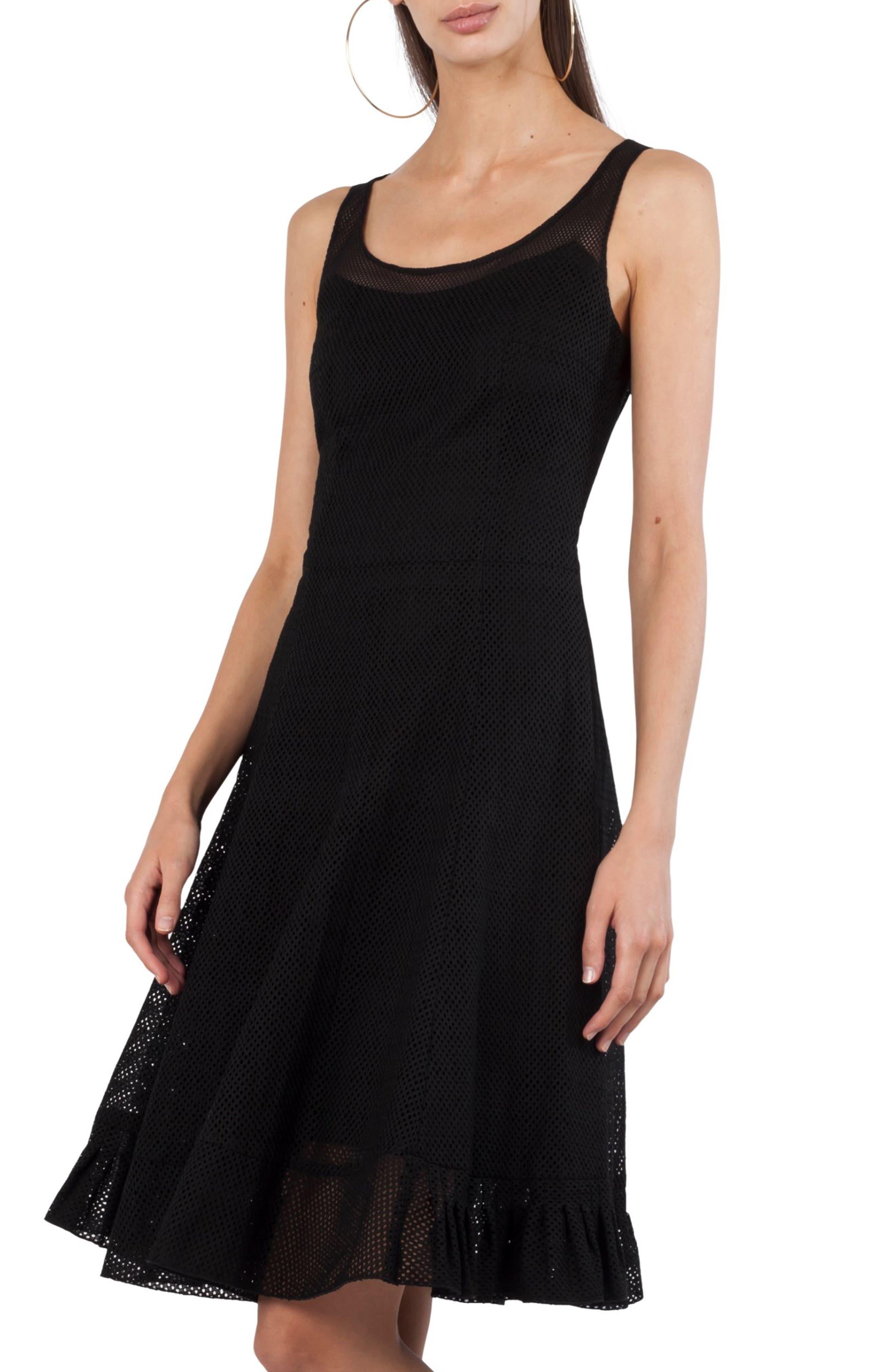 Perforated Tank Dress,                             Main thumbnail 1, color,                             Black
