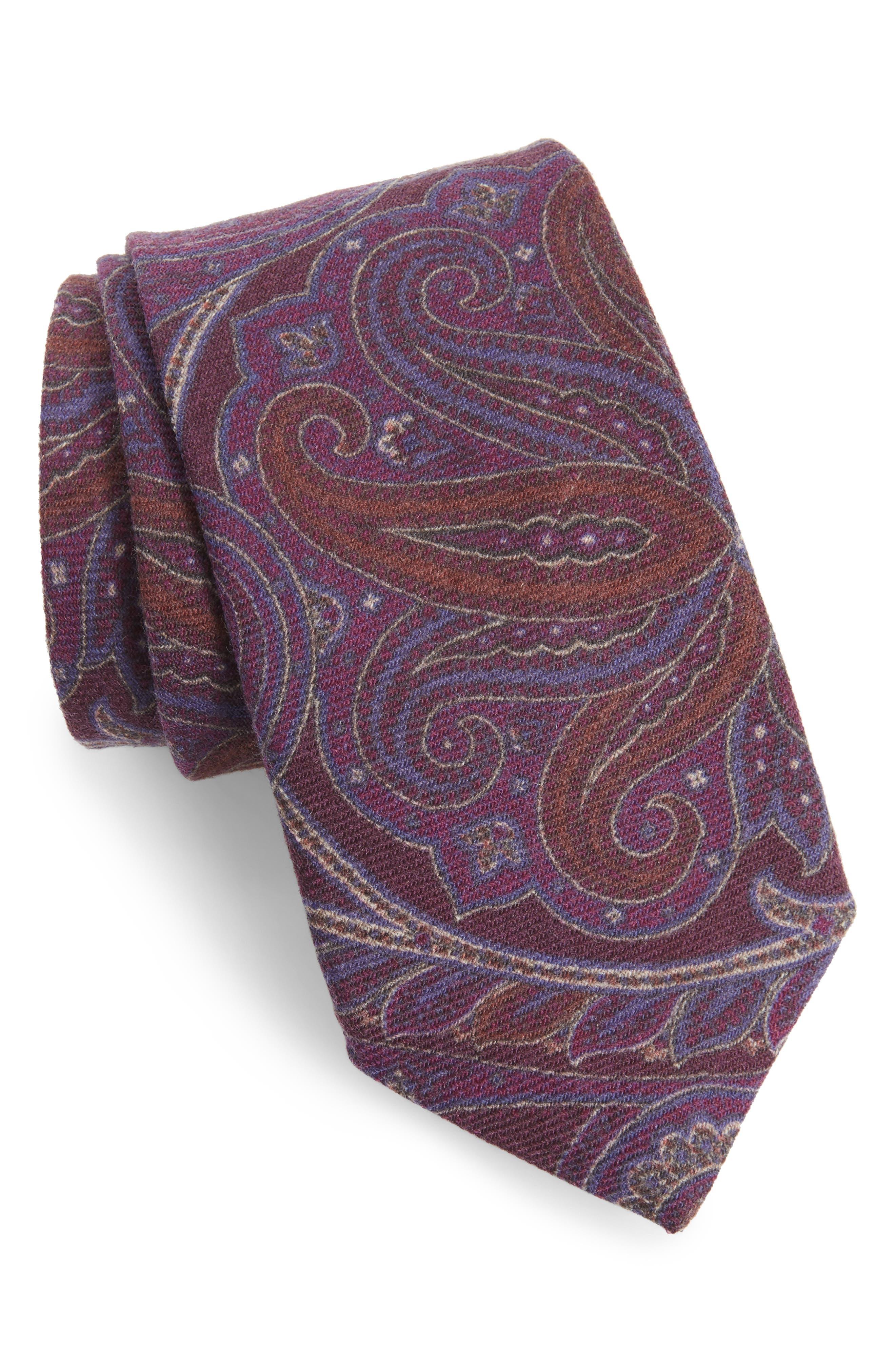 Paisley Wool Tie,                         Main,                         color, Purple