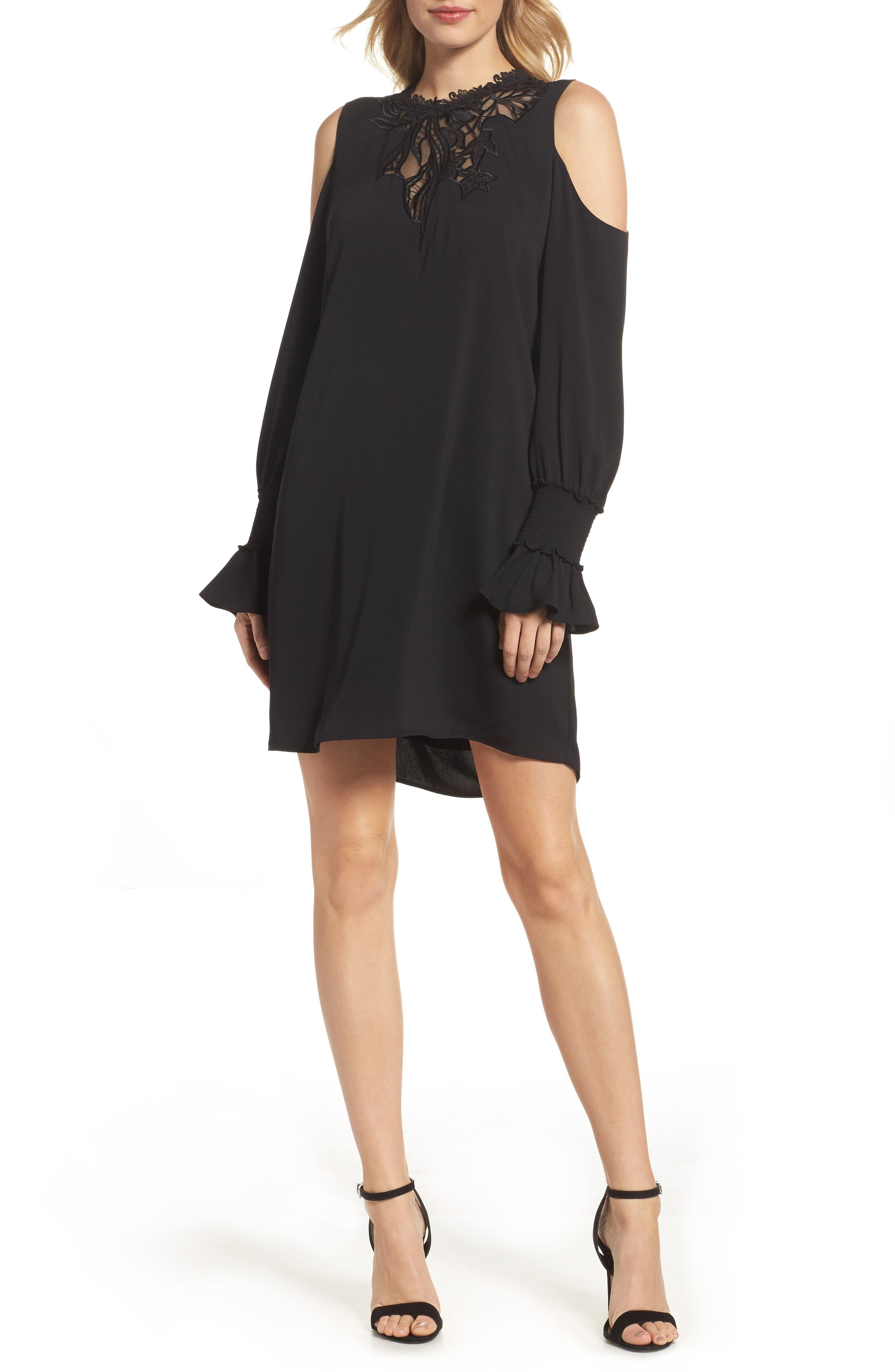 Cold Shoulder Shift Dress,                             Main thumbnail 1, color,                             Black