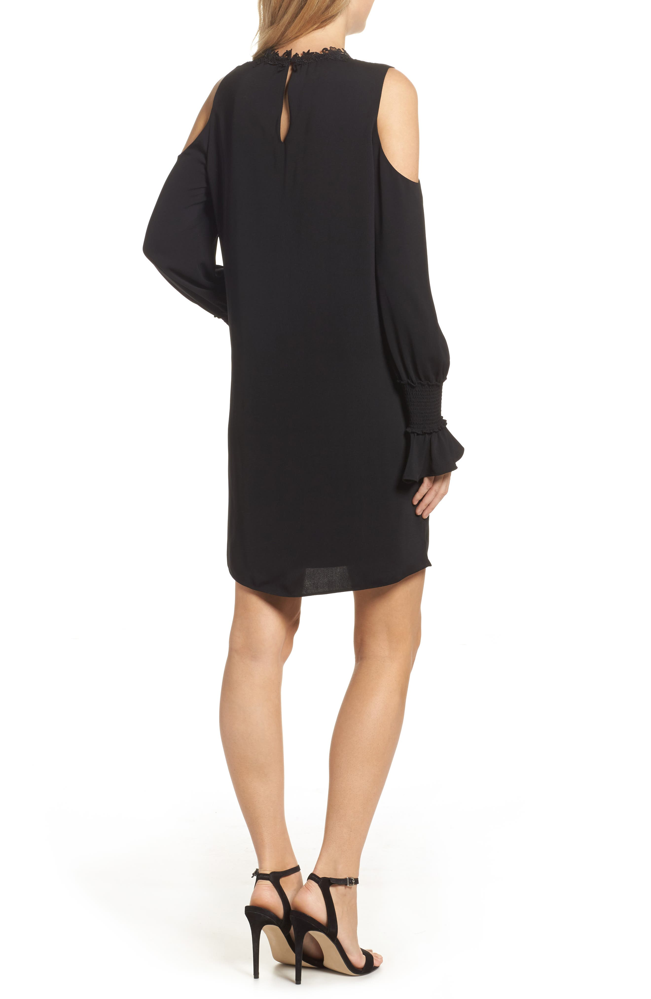 Cold Shoulder Shift Dress,                             Alternate thumbnail 2, color,                             Black