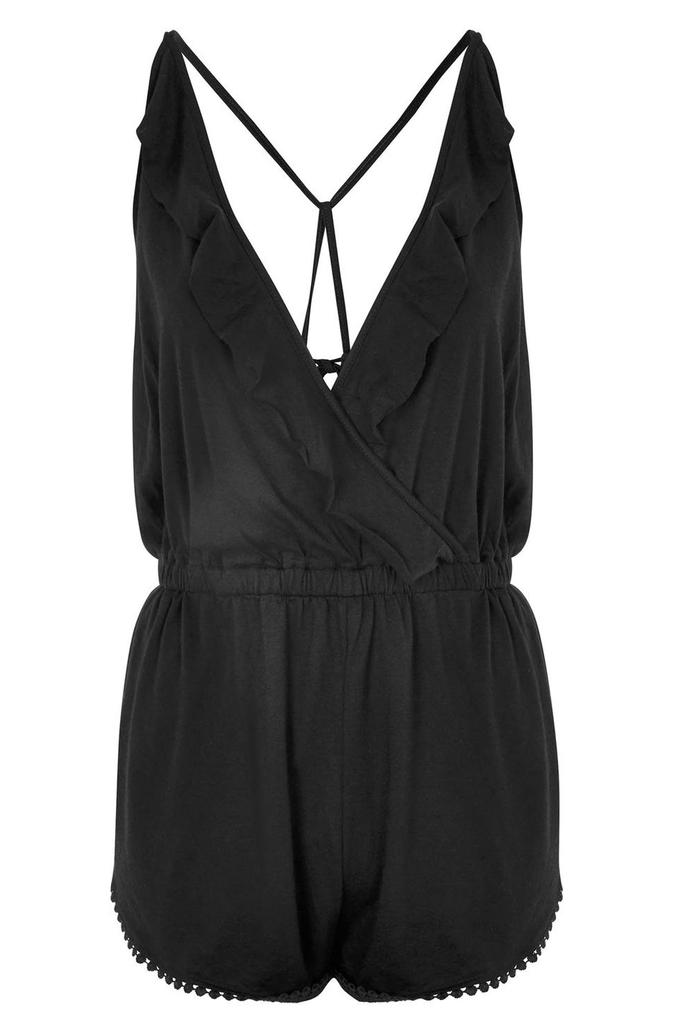 Jersey Wrap Cover-Up Romper,                             Alternate thumbnail 5, color,                             Black