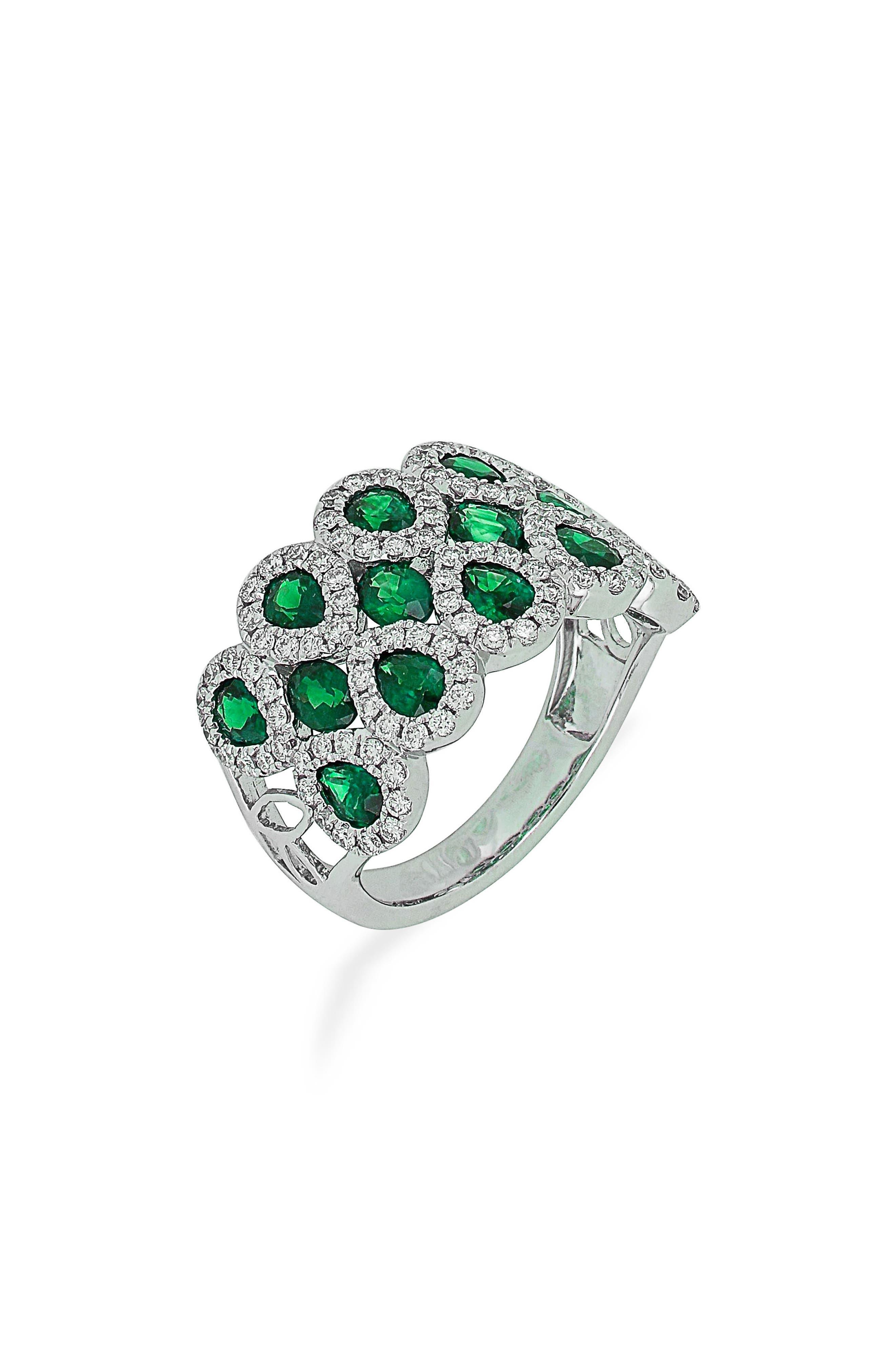 Emerald & Diamond Ring,                         Main,                         color, White Gold