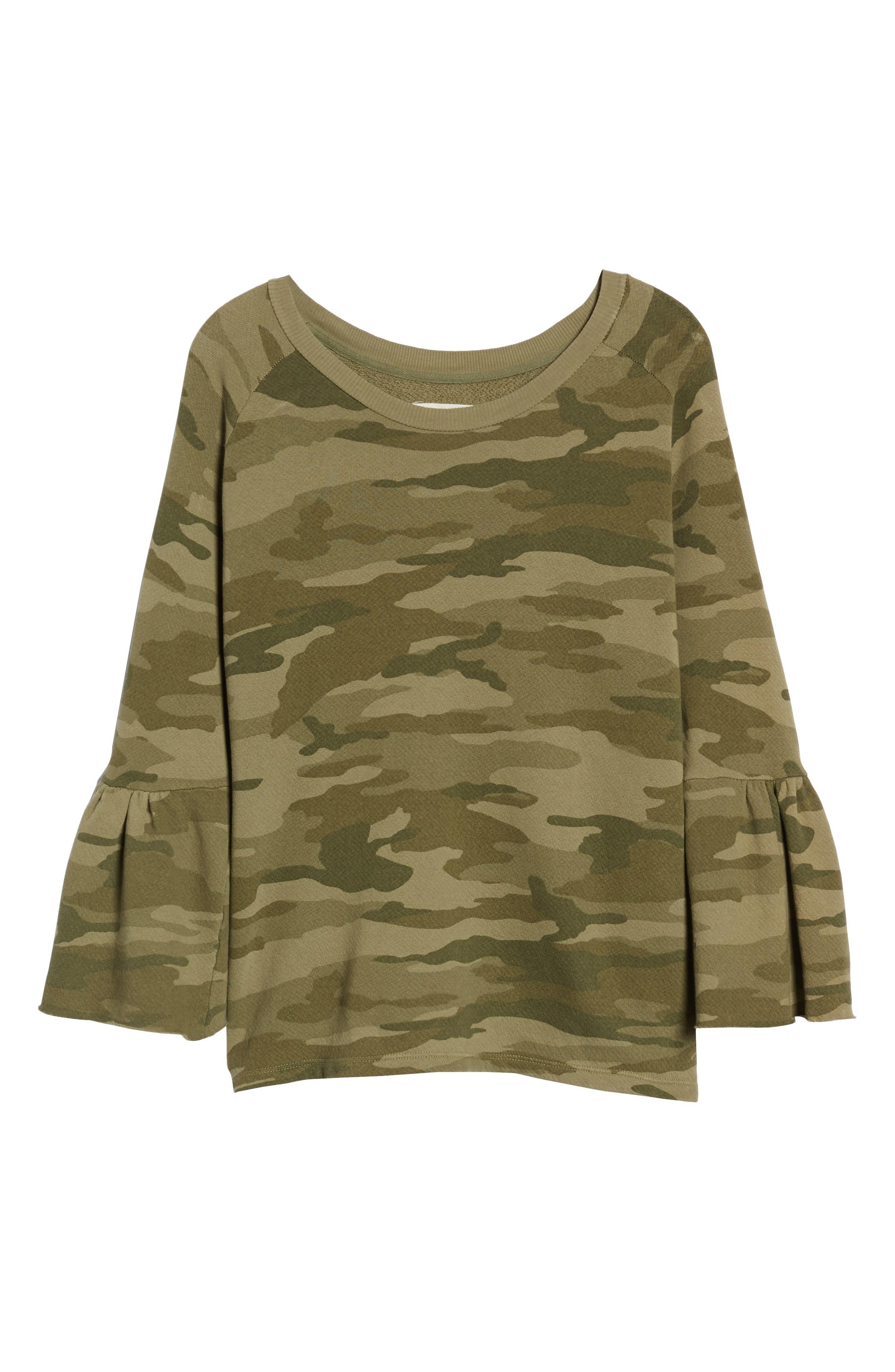 The Ruffle Sleeve Sweatshirt,                             Alternate thumbnail 6, color,                             Essentials Camo