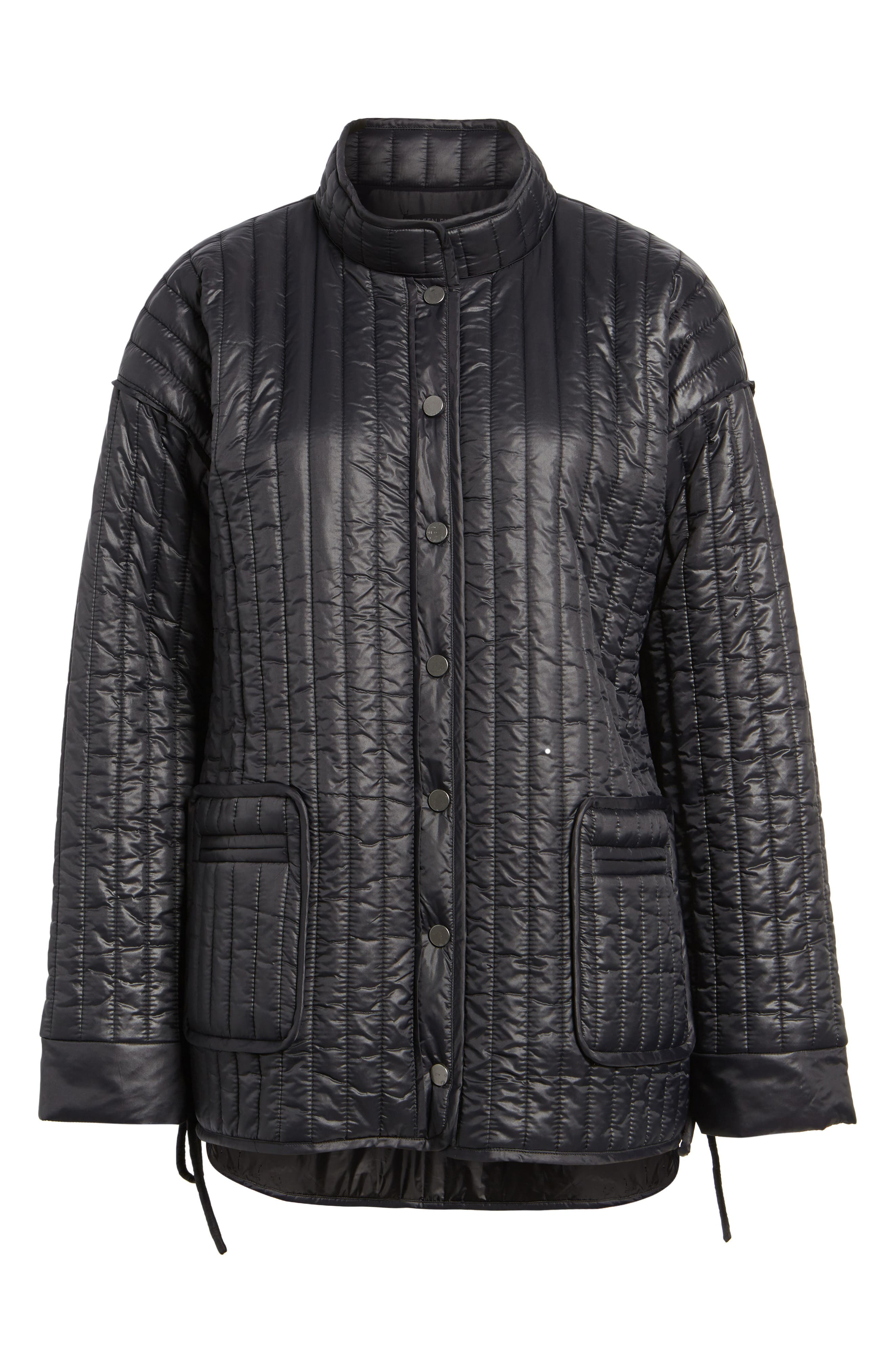 Side Tie Quilted Jacket,                             Alternate thumbnail 6, color,                             Black