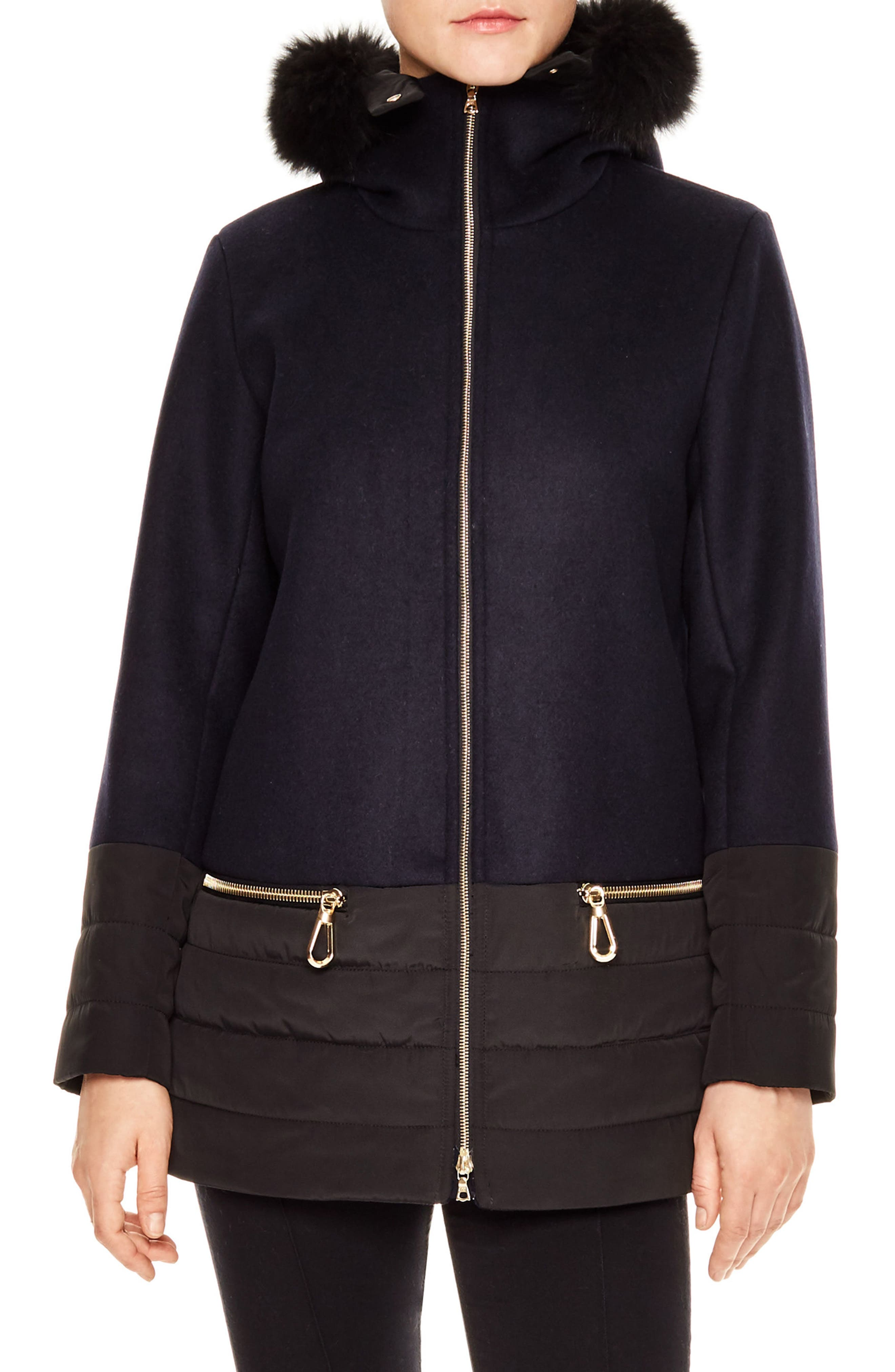 Brina Hooded Mixed Media Coat with Genuine Removable Fox Fur Trim,                         Main,                         color, Navy