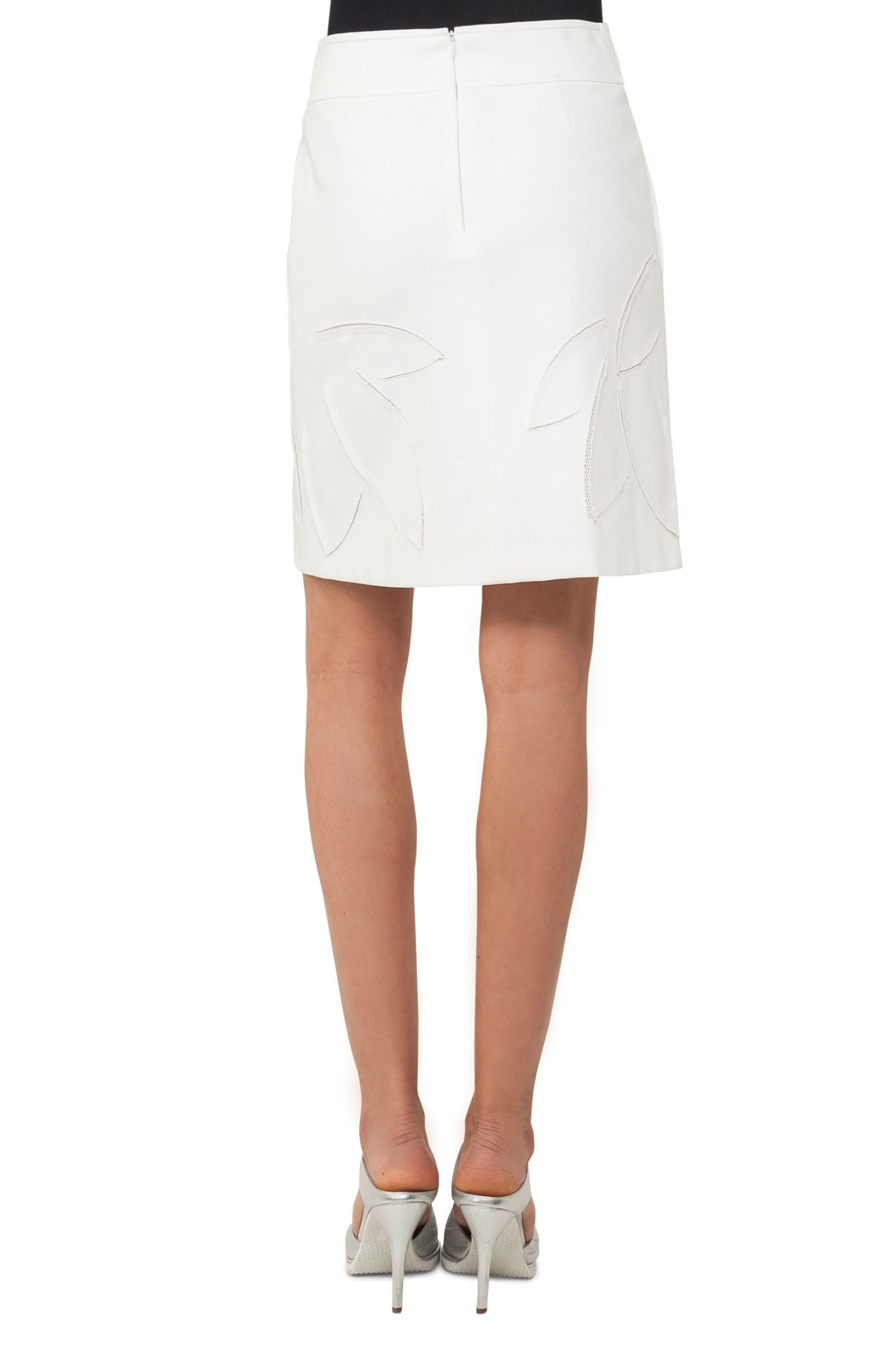 Lasercut Leaf Pattern Jersey Skirt,                             Alternate thumbnail 2, color,                             Cream