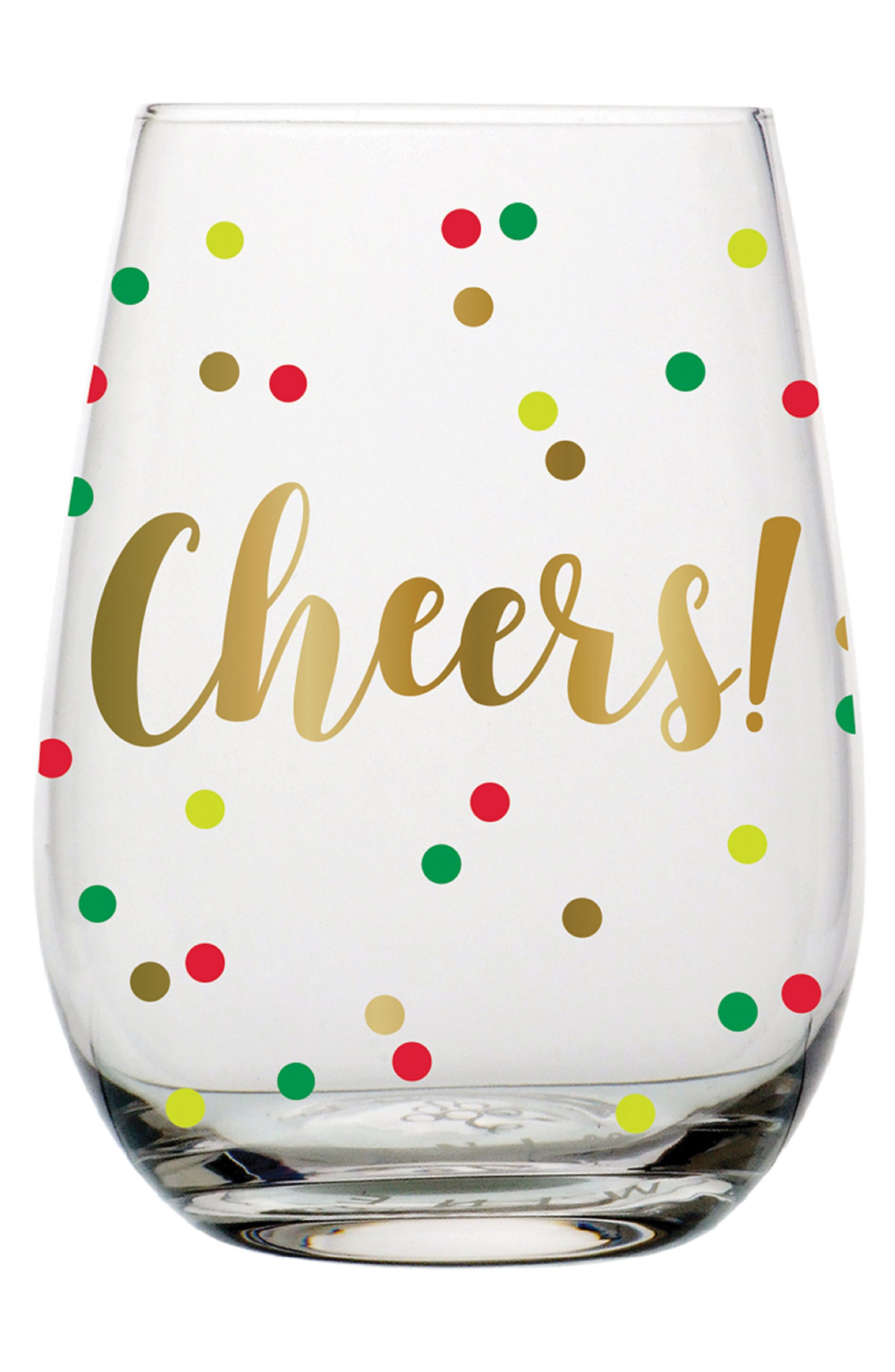 Cheers Confetti Stemless Wine Glass,                         Main,                         color, Multi