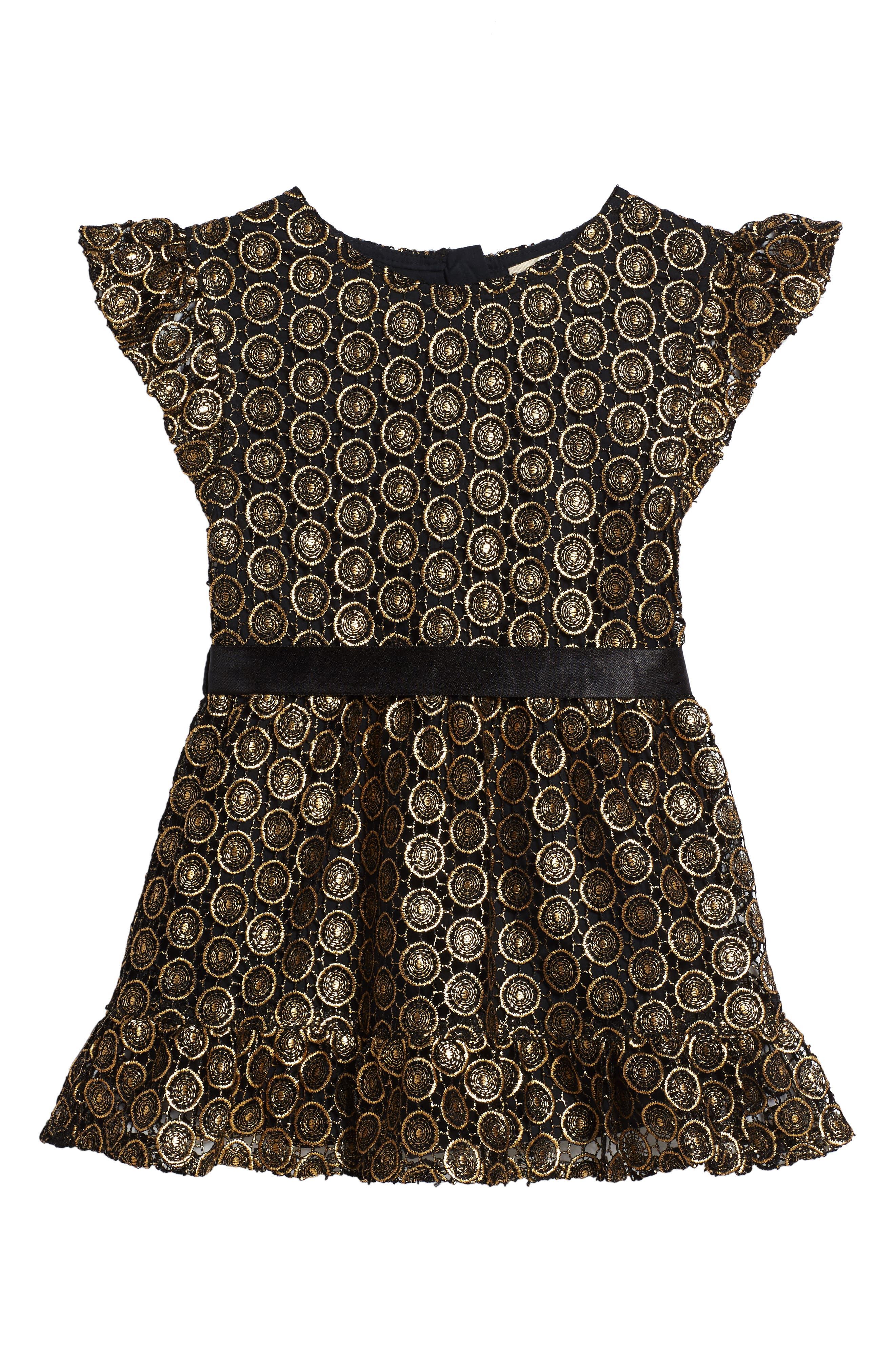 Metallic Lace Dress,                         Main,                         color, Gold