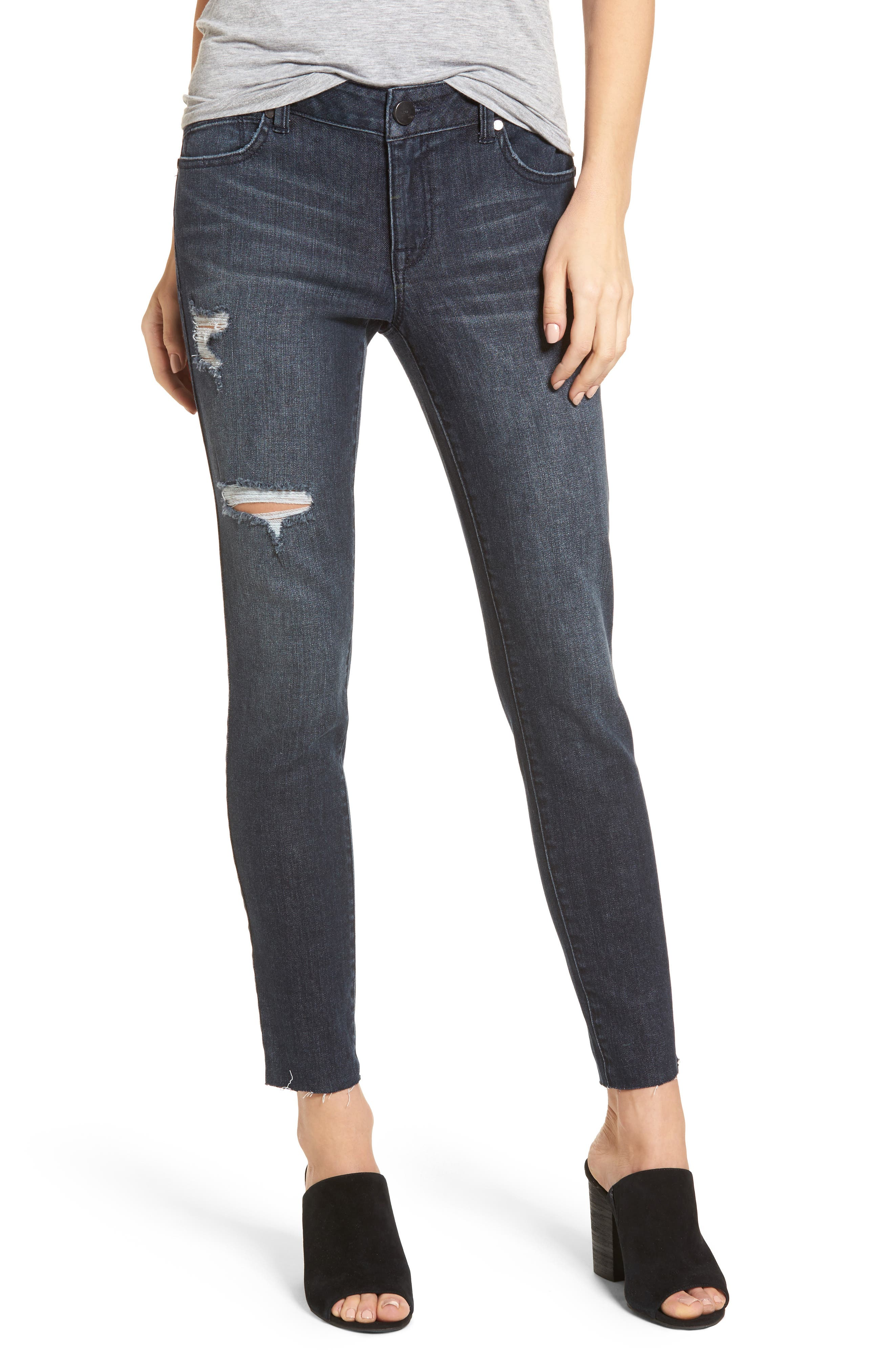 Main Image - 1822 Denim Distressed Skinny Jeans (Palin)