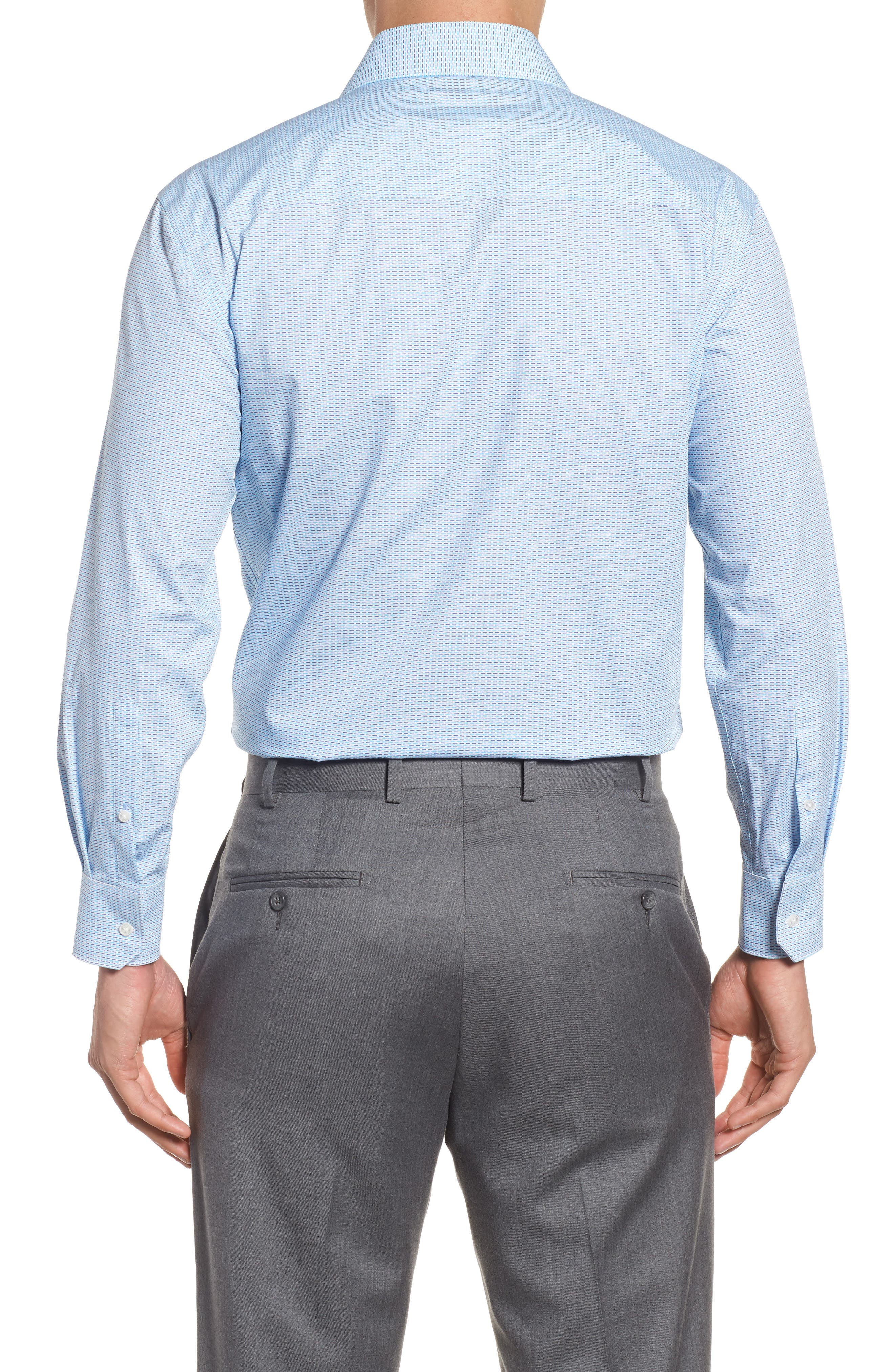 Trim Fit Geometric Dress Shirt,                             Alternate thumbnail 2, color,                             Aqua