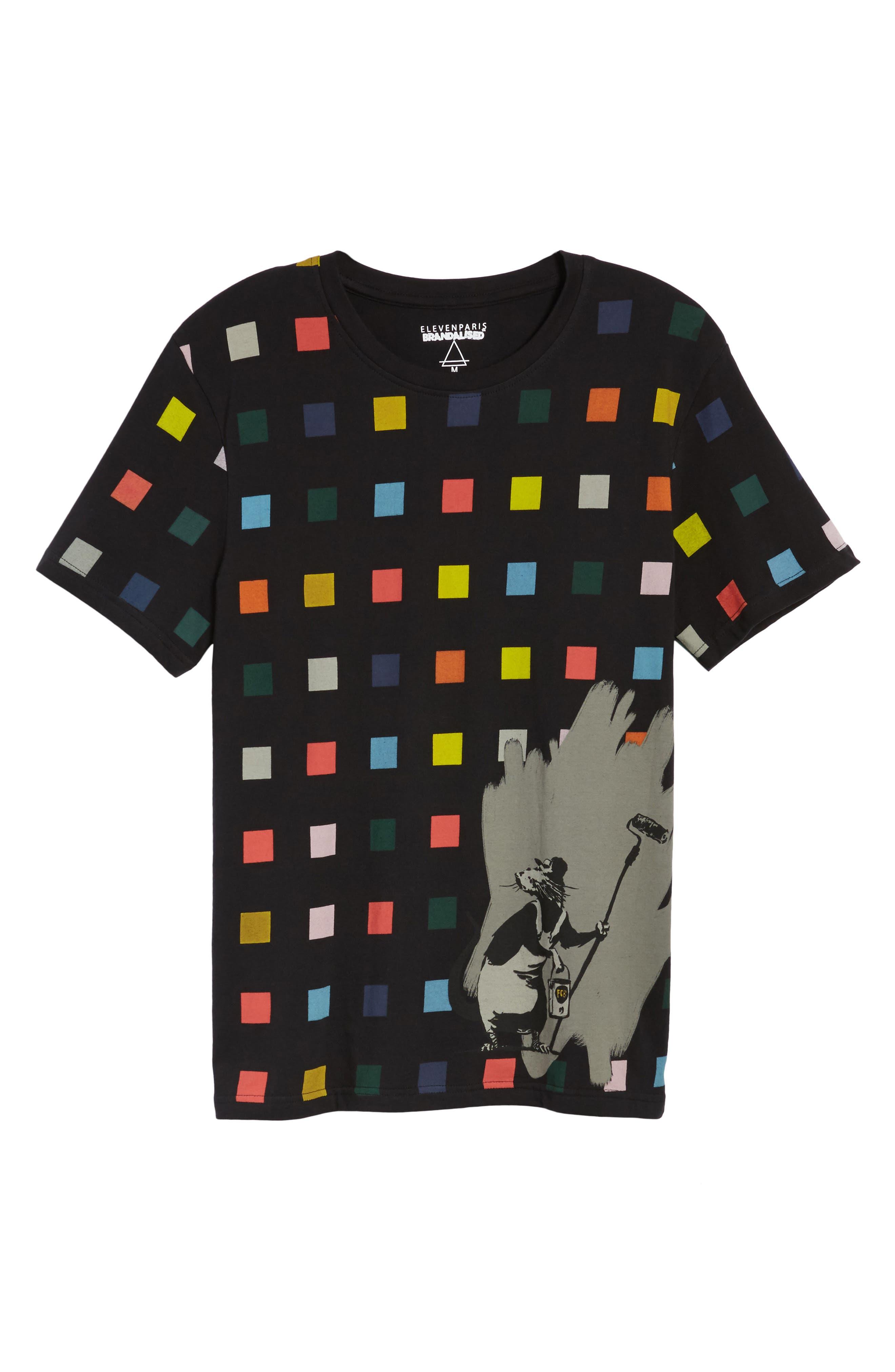 Squares T-Shirt,                             Alternate thumbnail 6, color,                             Black