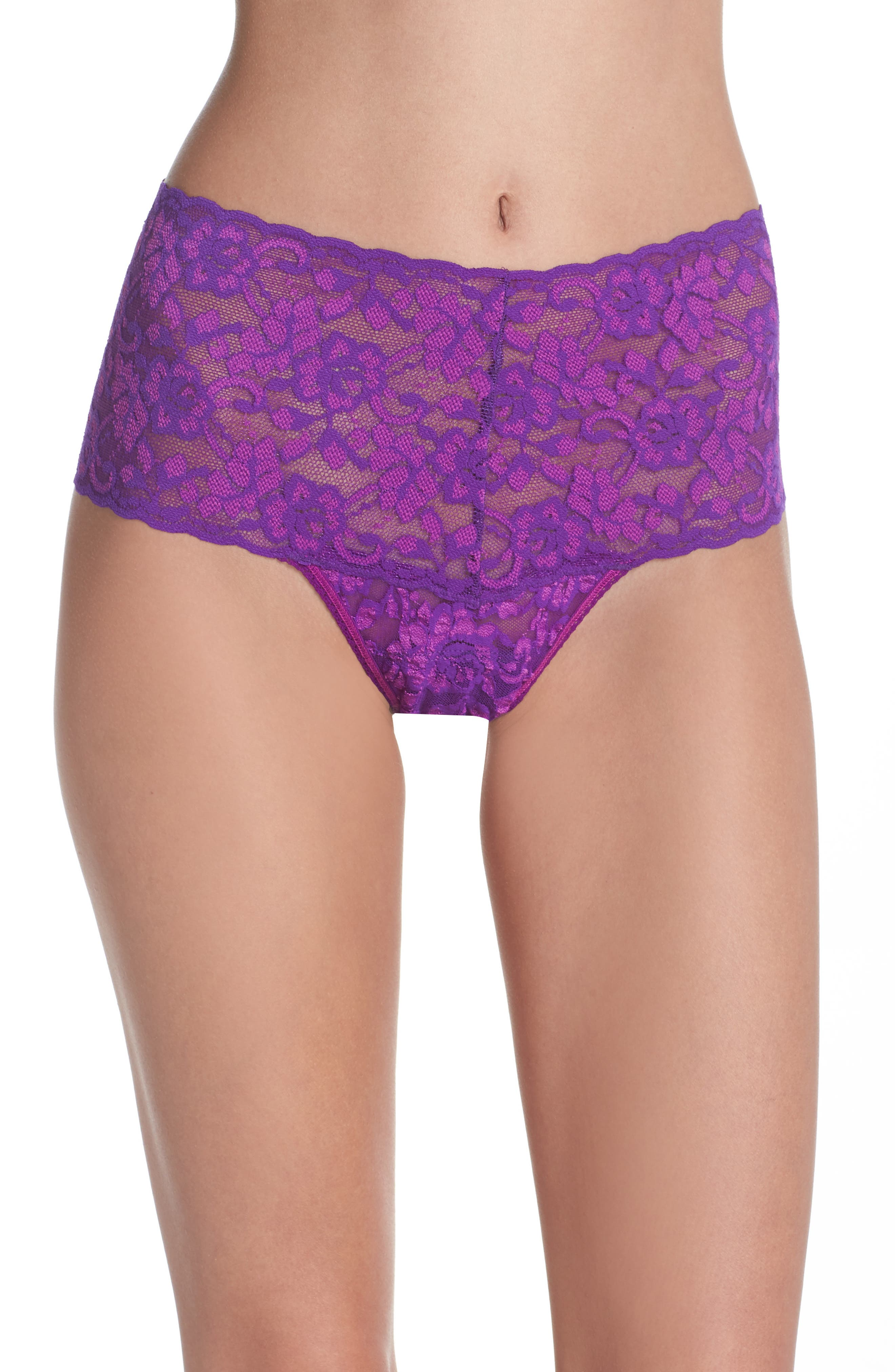 Alternate Image 1 Selected - Hanky Panky Cross Dye Lace Retro Thong
