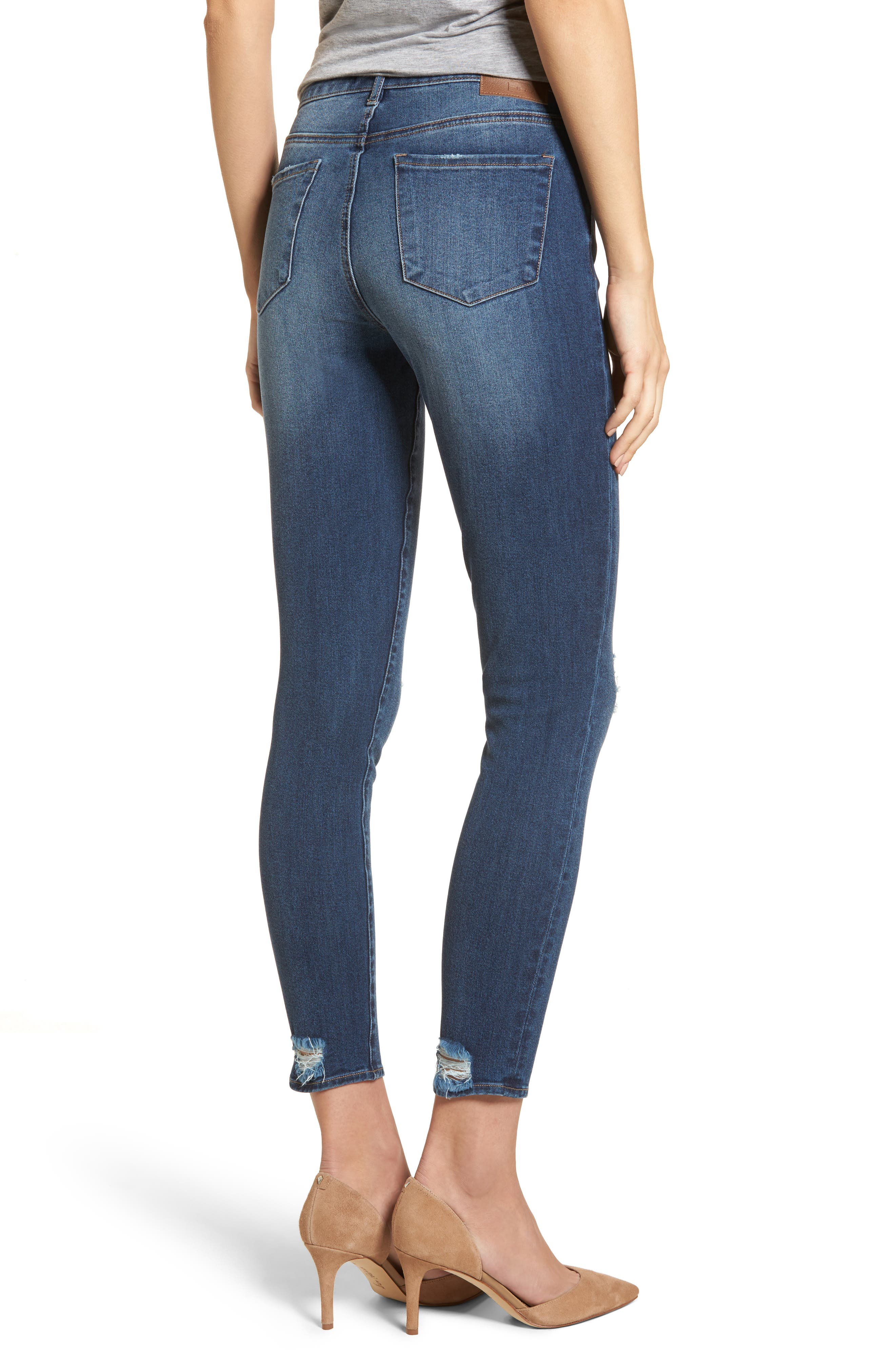 Distressed Skinny Ankle Jeans,                             Alternate thumbnail 2, color,                             Medium Wash