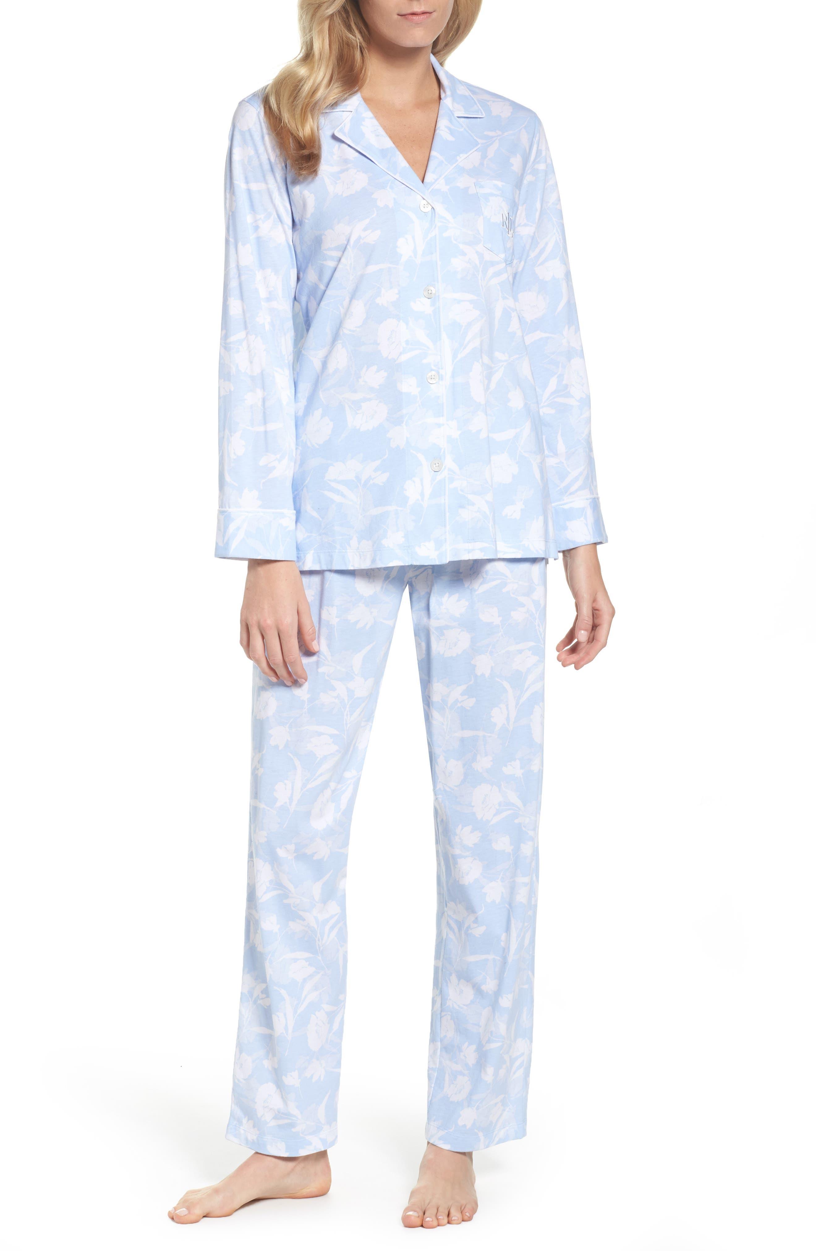 Floral Print Jersey Pajamas,                             Main thumbnail 1, color,                             Blue Monotone Floral